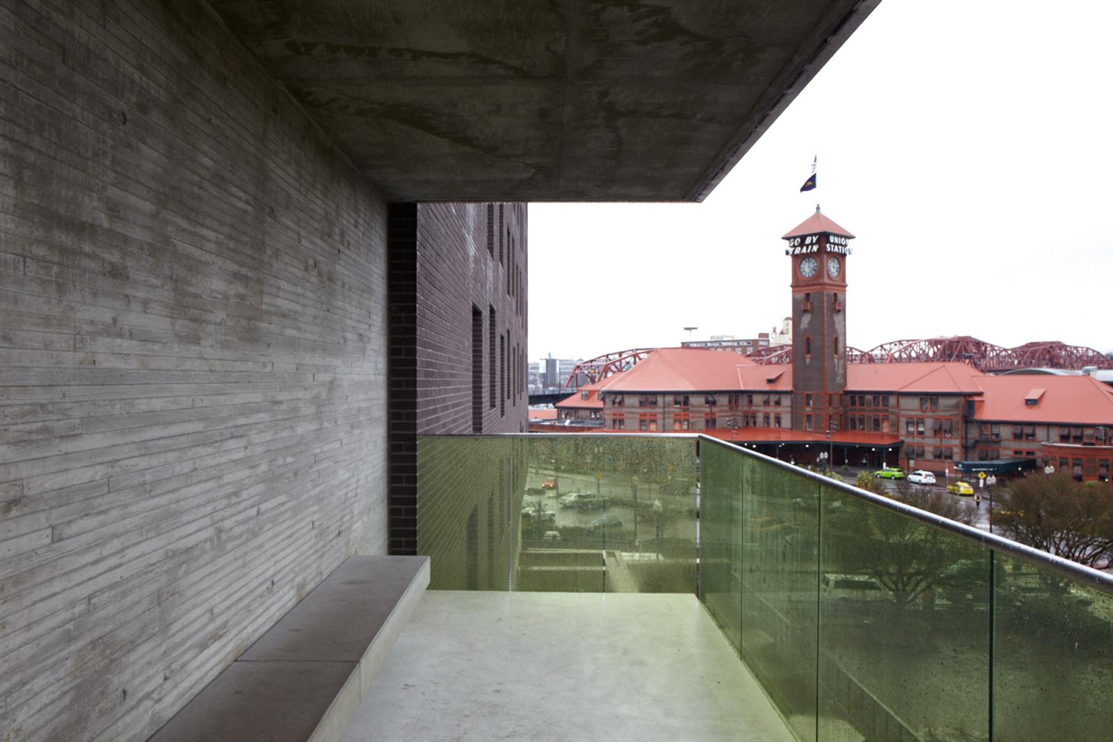 Concrete balcony of Bud Clark Commons in Portland, Oregon