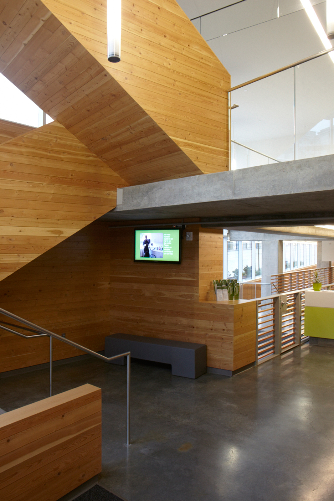 Interior staircase with bamboo veneer in Bud Clark Commons