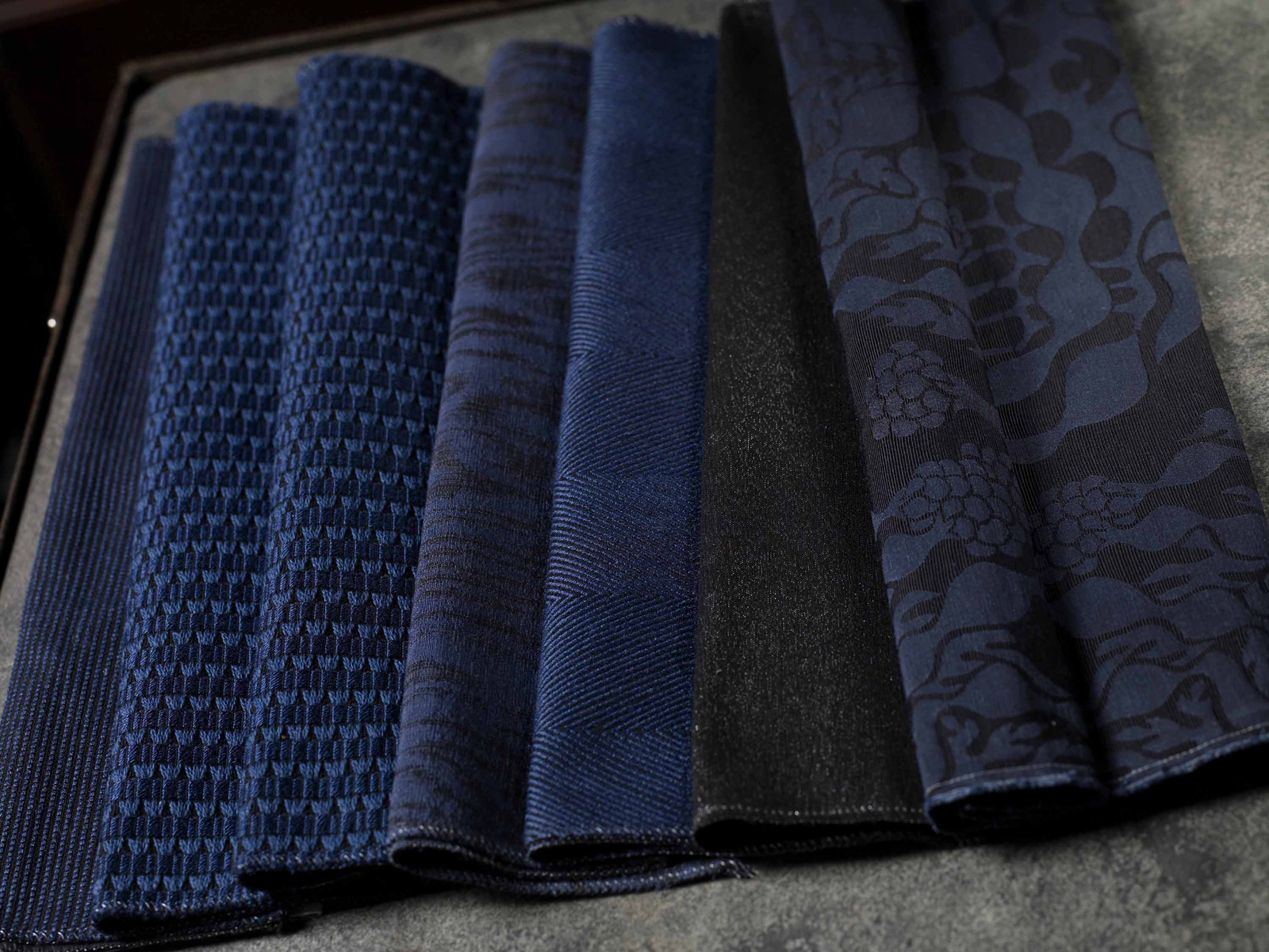modern navy and grey fabrics by Knoll