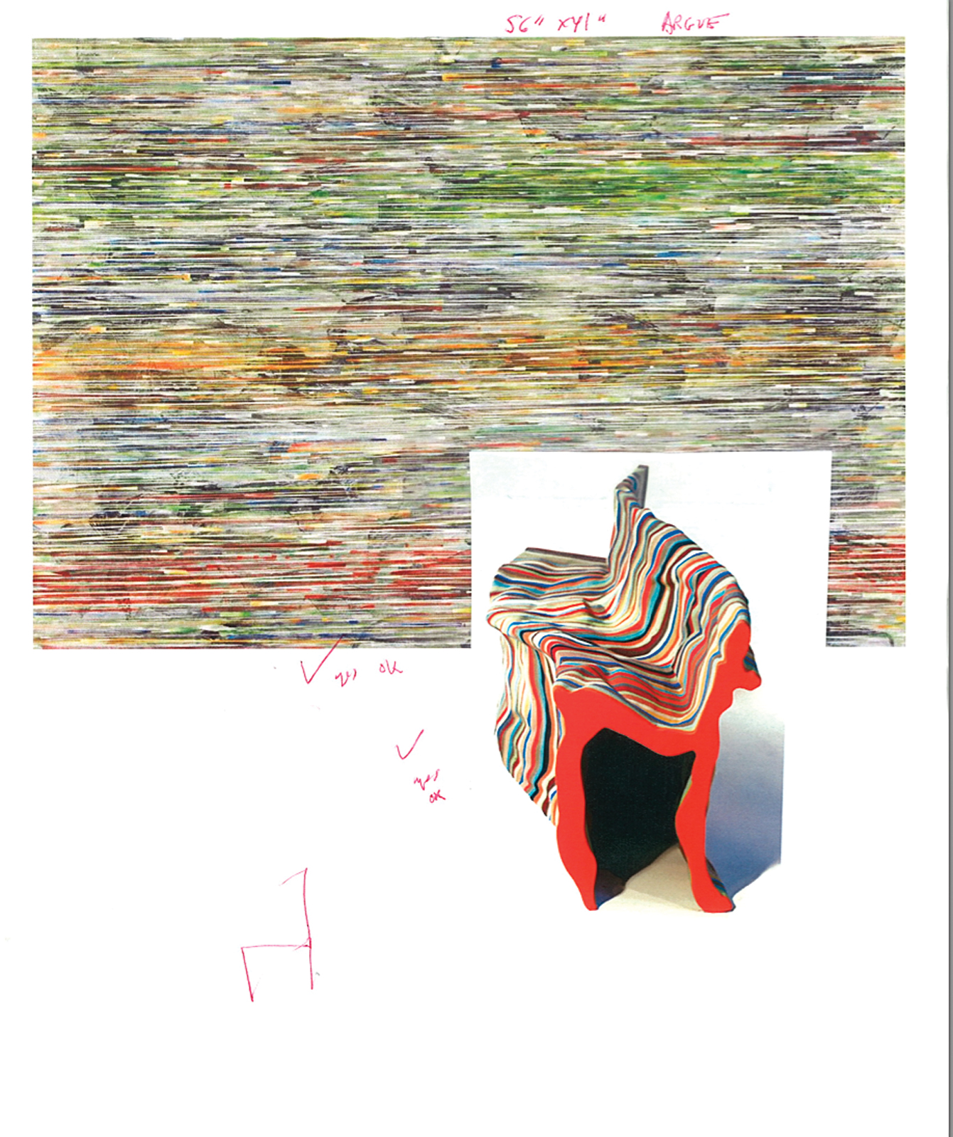 Doug Argue painting and Julien Carretero bench