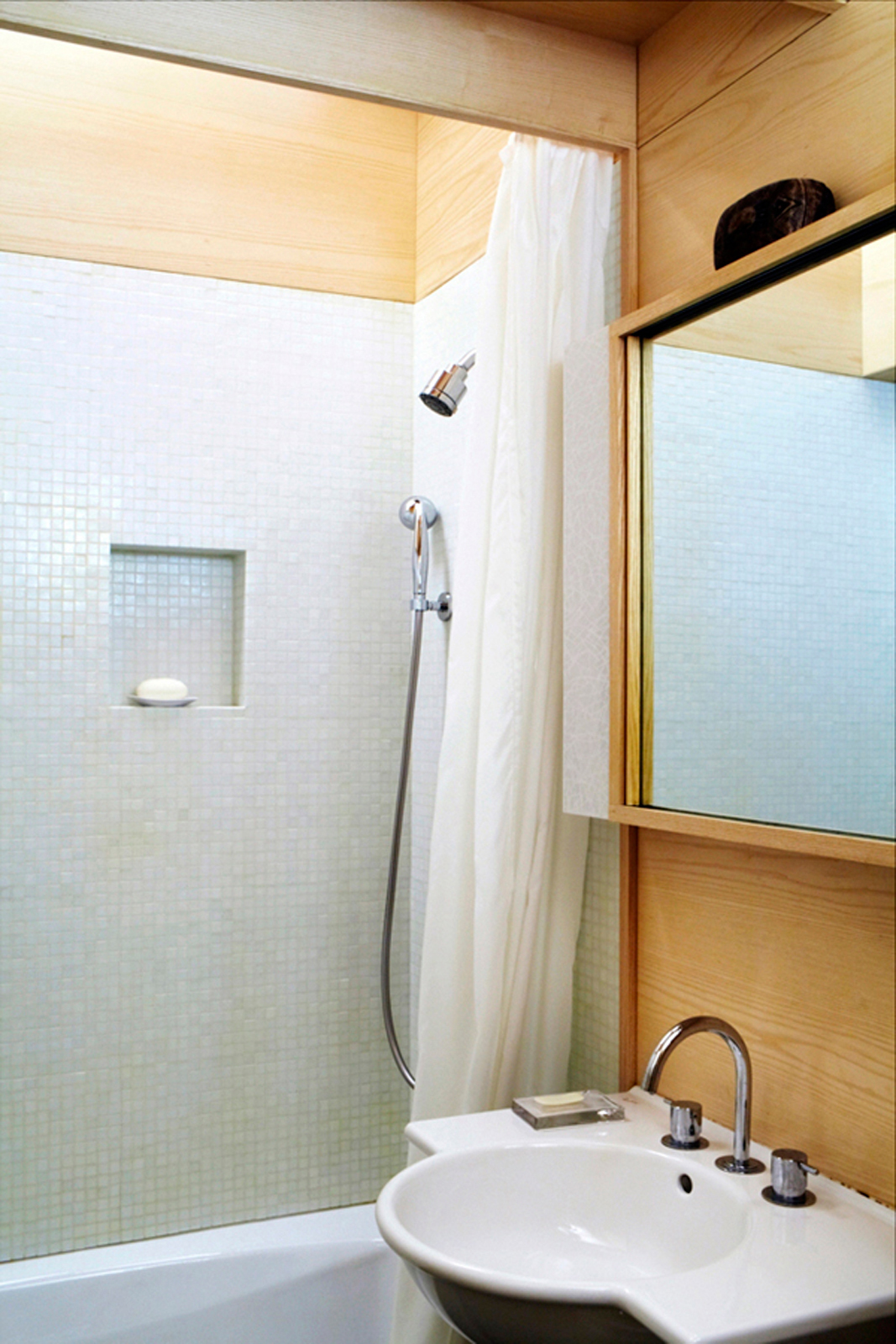 Bathroom of small space apartment in New York City