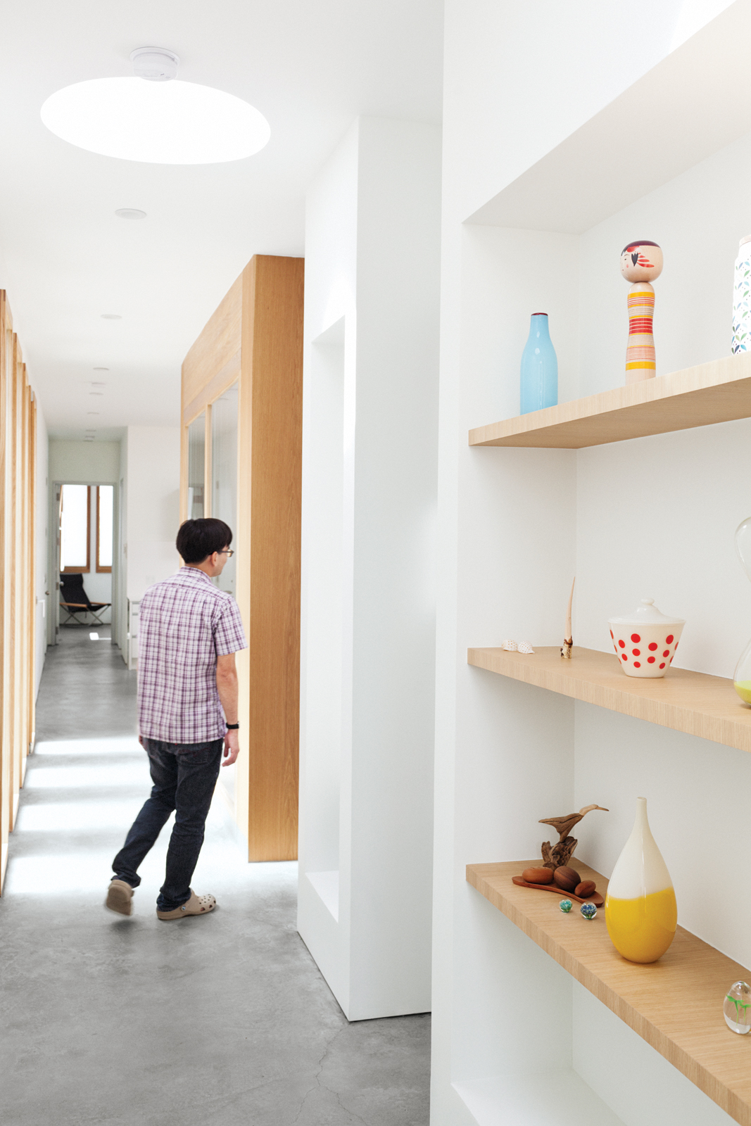 Built-in wooden shelving units