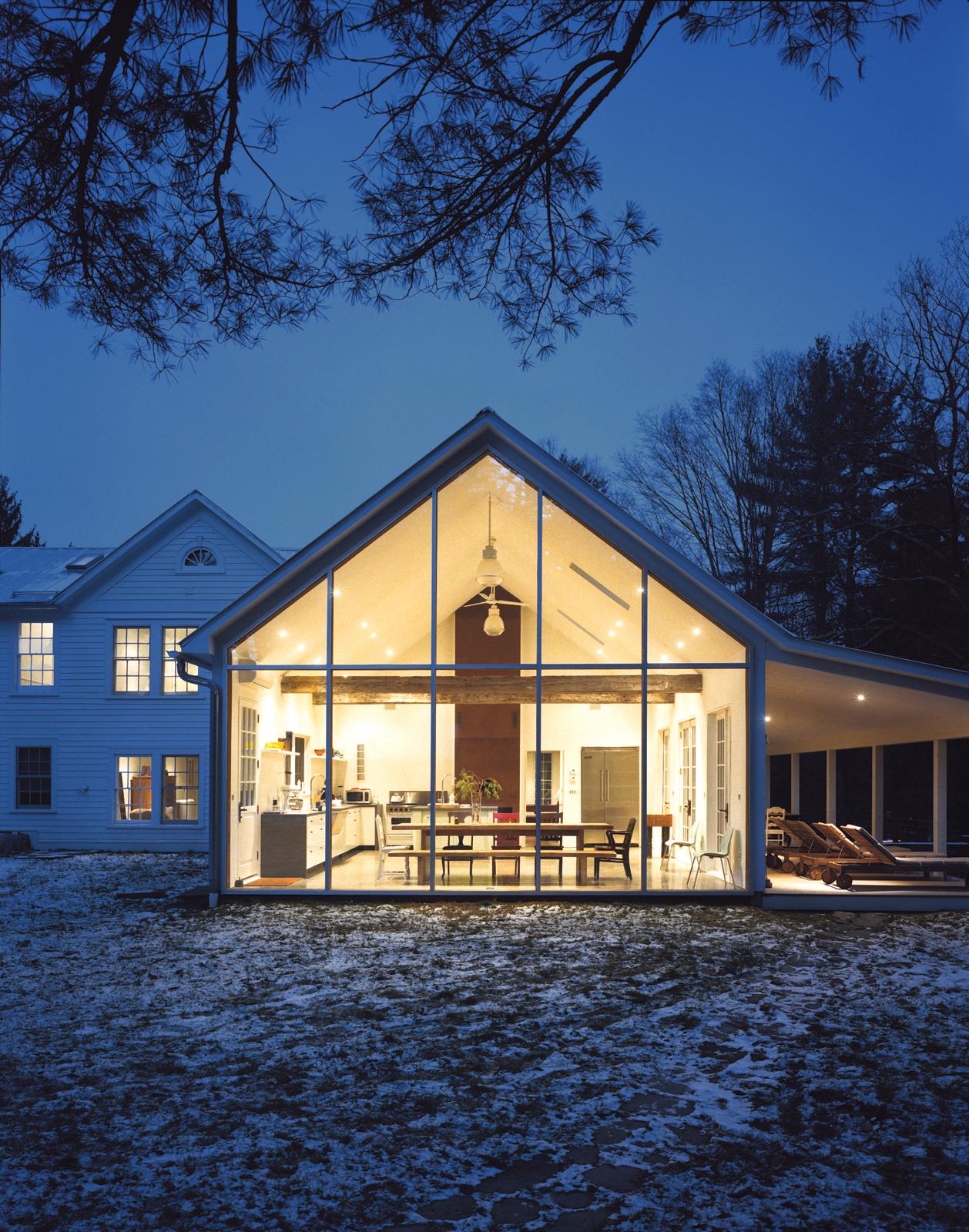 Exterior farmhouse open view kitchen