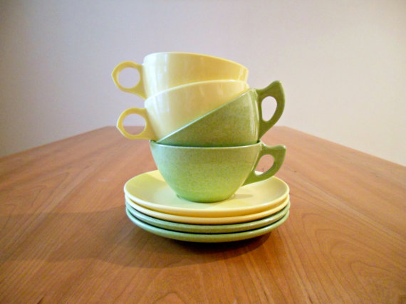 Melamine cups and saucers from bergenhouse