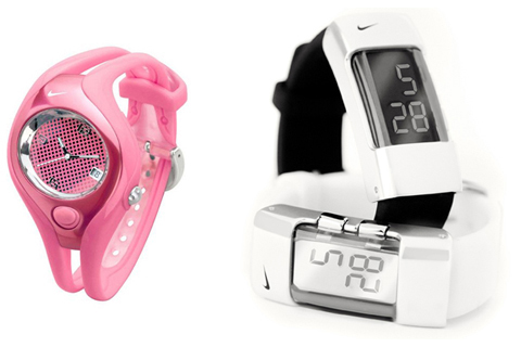 Pink and white Nike watches designed by Femme Den
