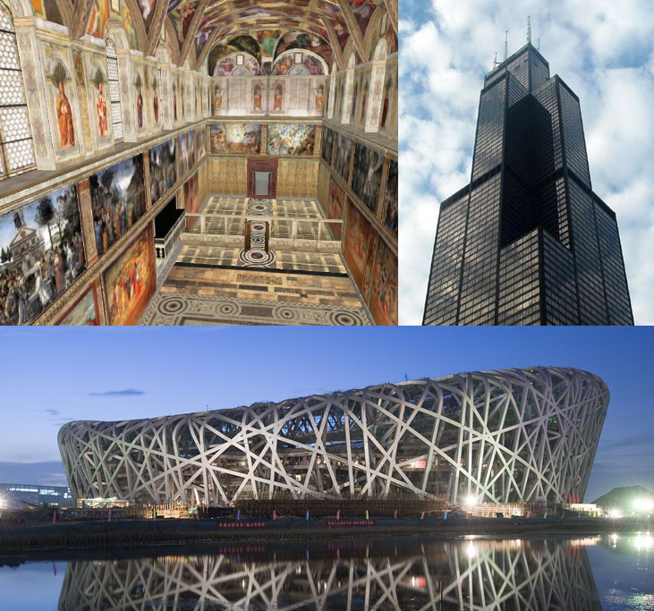 Sistine Chapel Sears Tower Beijing Olympic Stadium