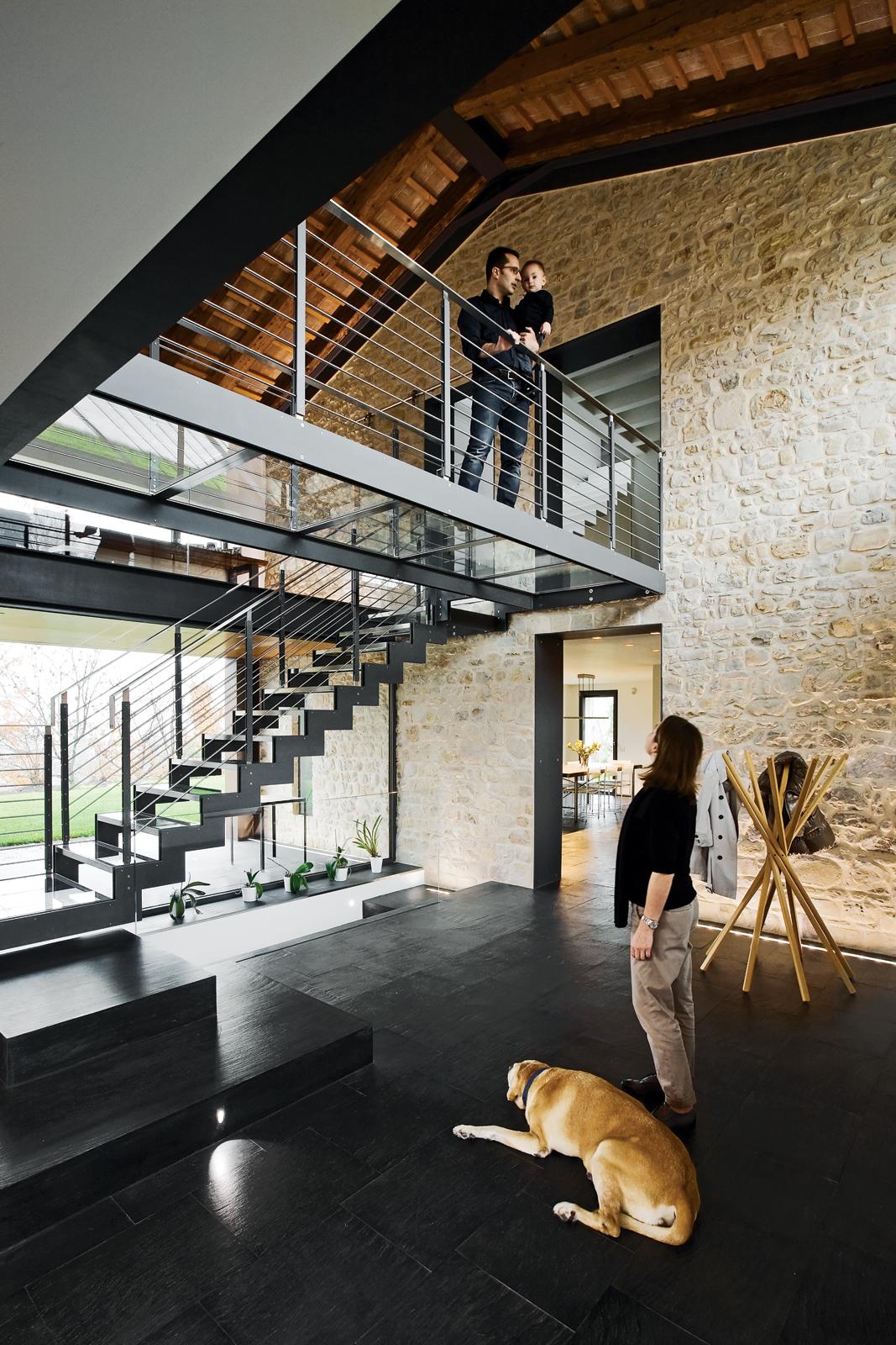 Italian slate floors metal zig-zag stairs