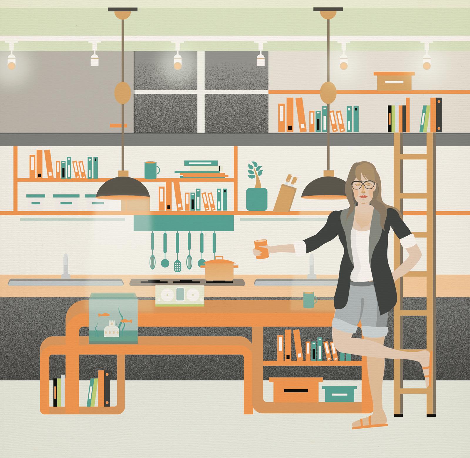 Modern multi-functional kitchen illustration by Arunas Kacinskas