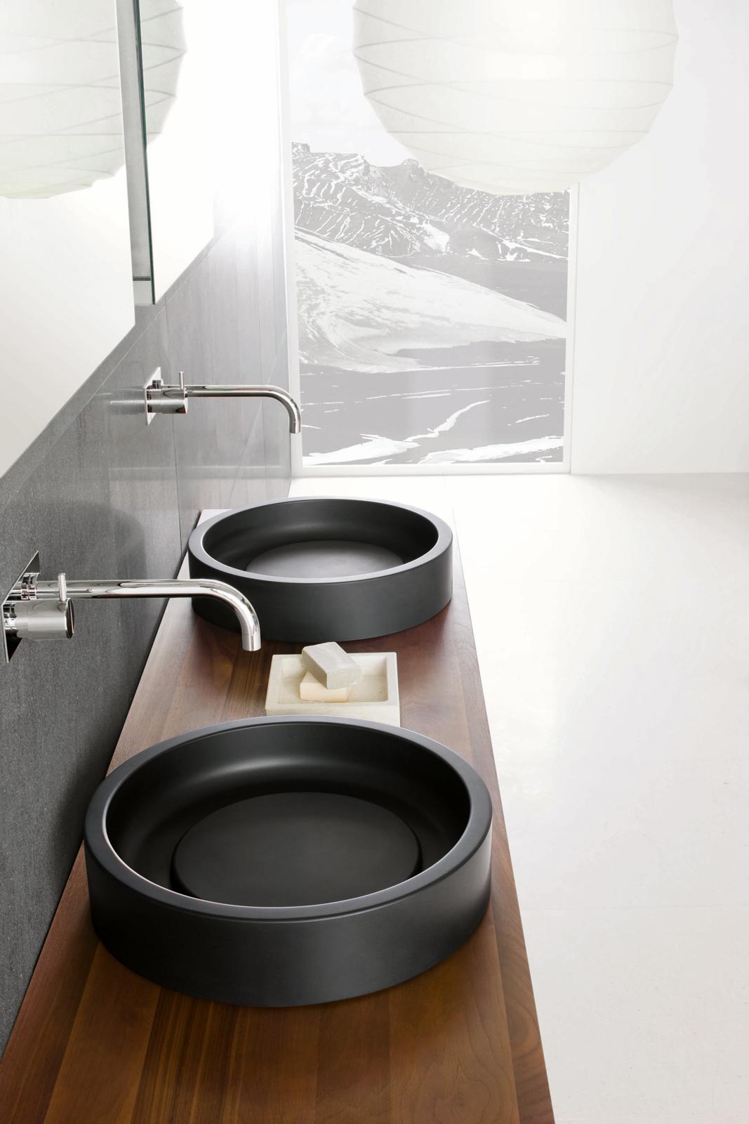 Detail shot of the Inkstone wash-basins in Black Rock stone.
