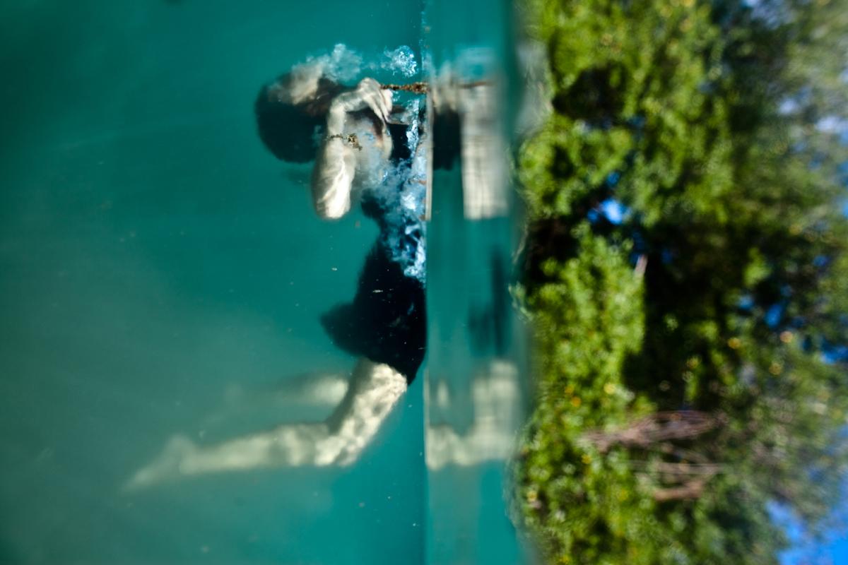 Photograph of woman swimming