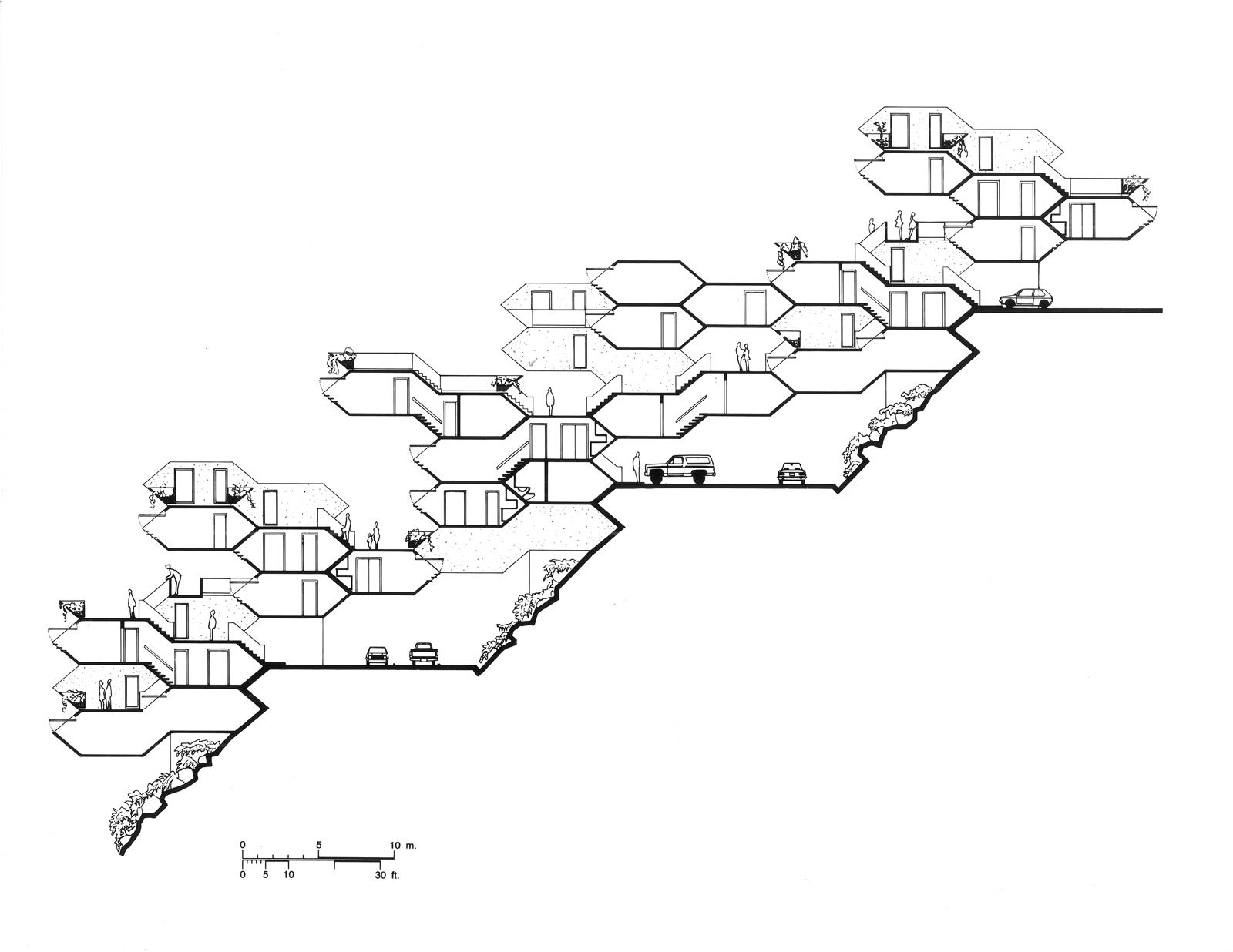 Habitat '67 building plan design by Moshe Safdie