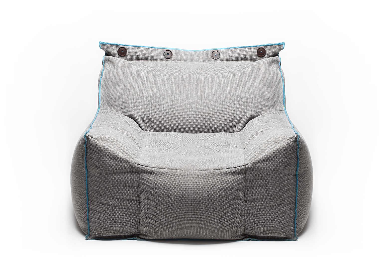 modern gray beanbag armchair with blue Cordonnet stitching