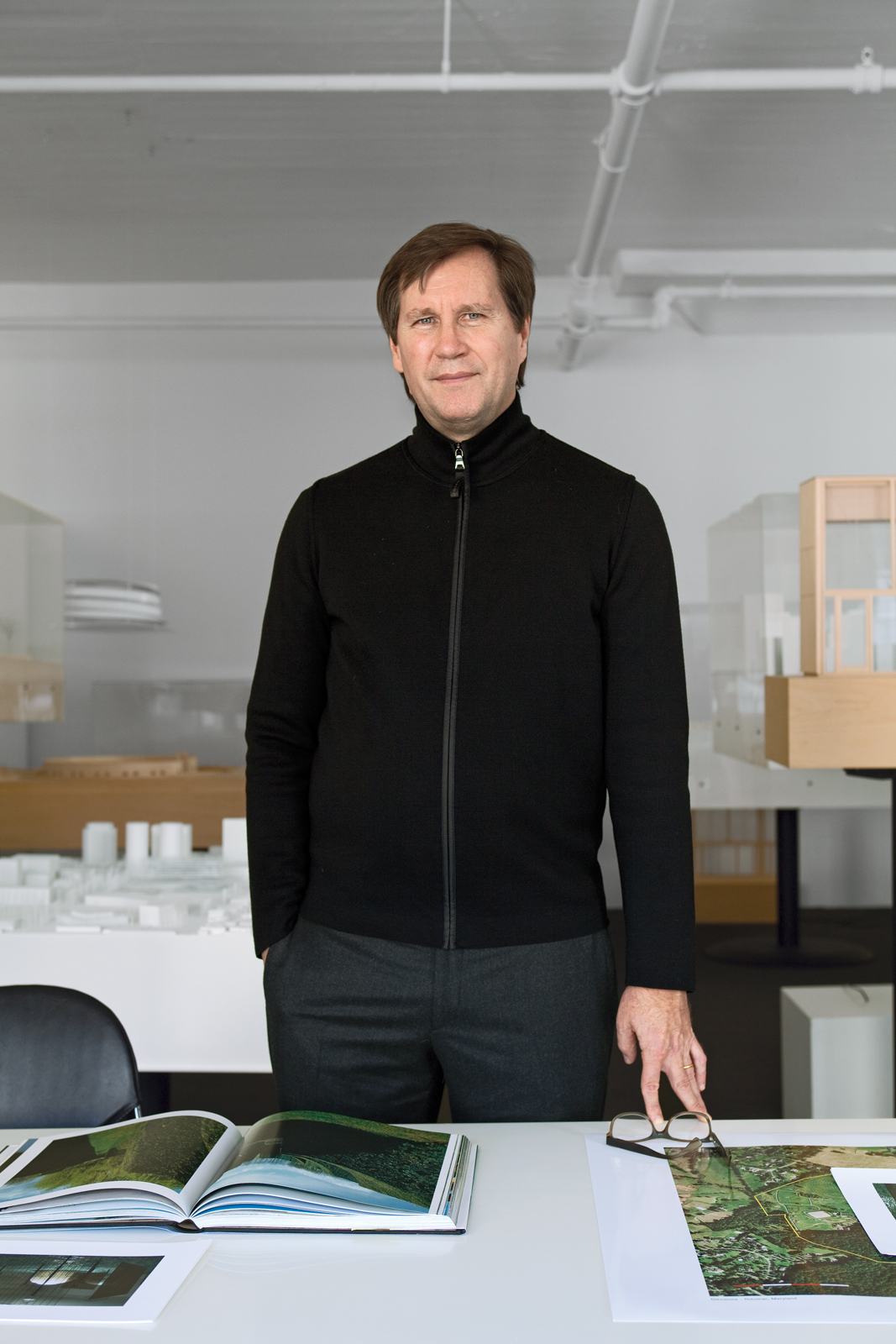 Architect Thomas Phifer in his west SoHo office and studio