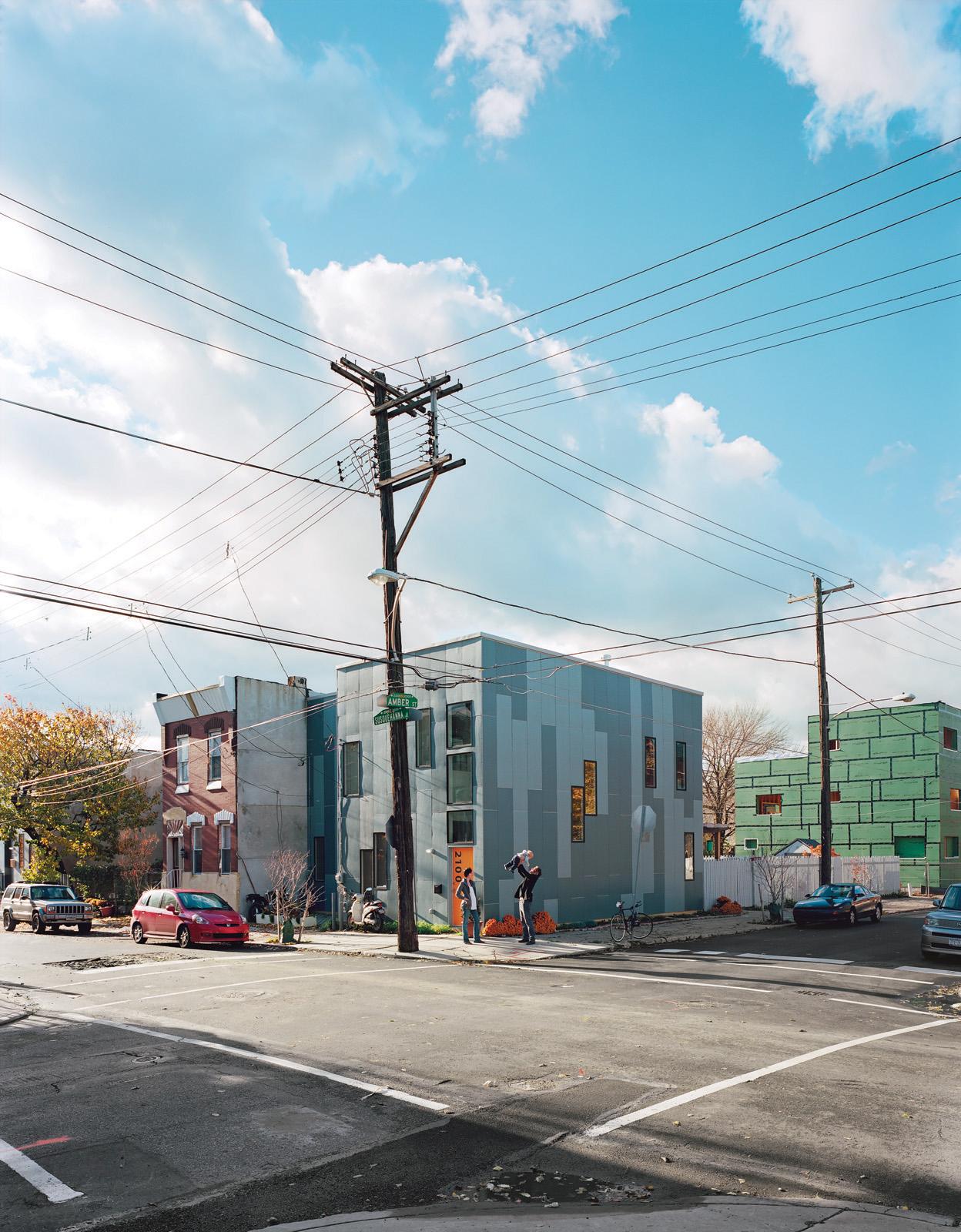 Modern box house made of HardiePanel siding