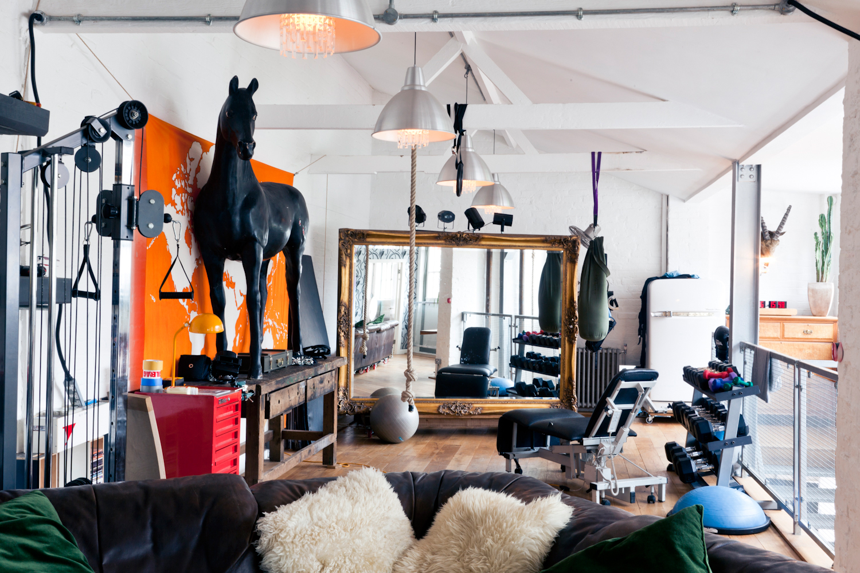 Modern living room with black sofa