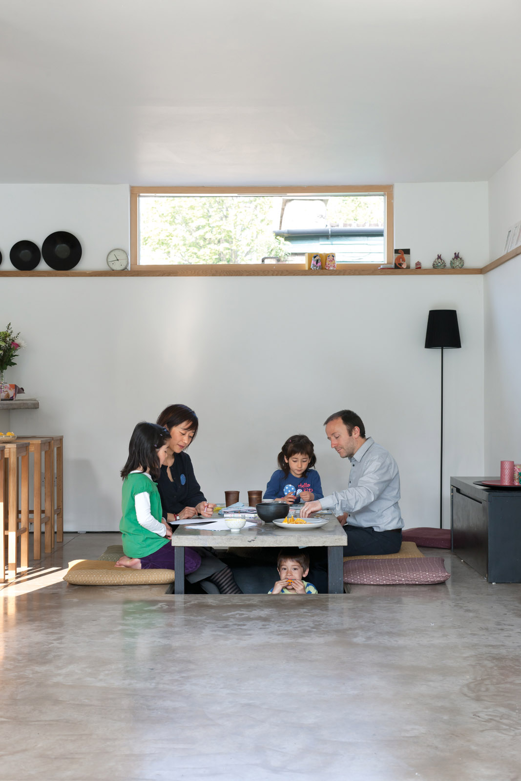 Family dining room with modern Japanese tatami