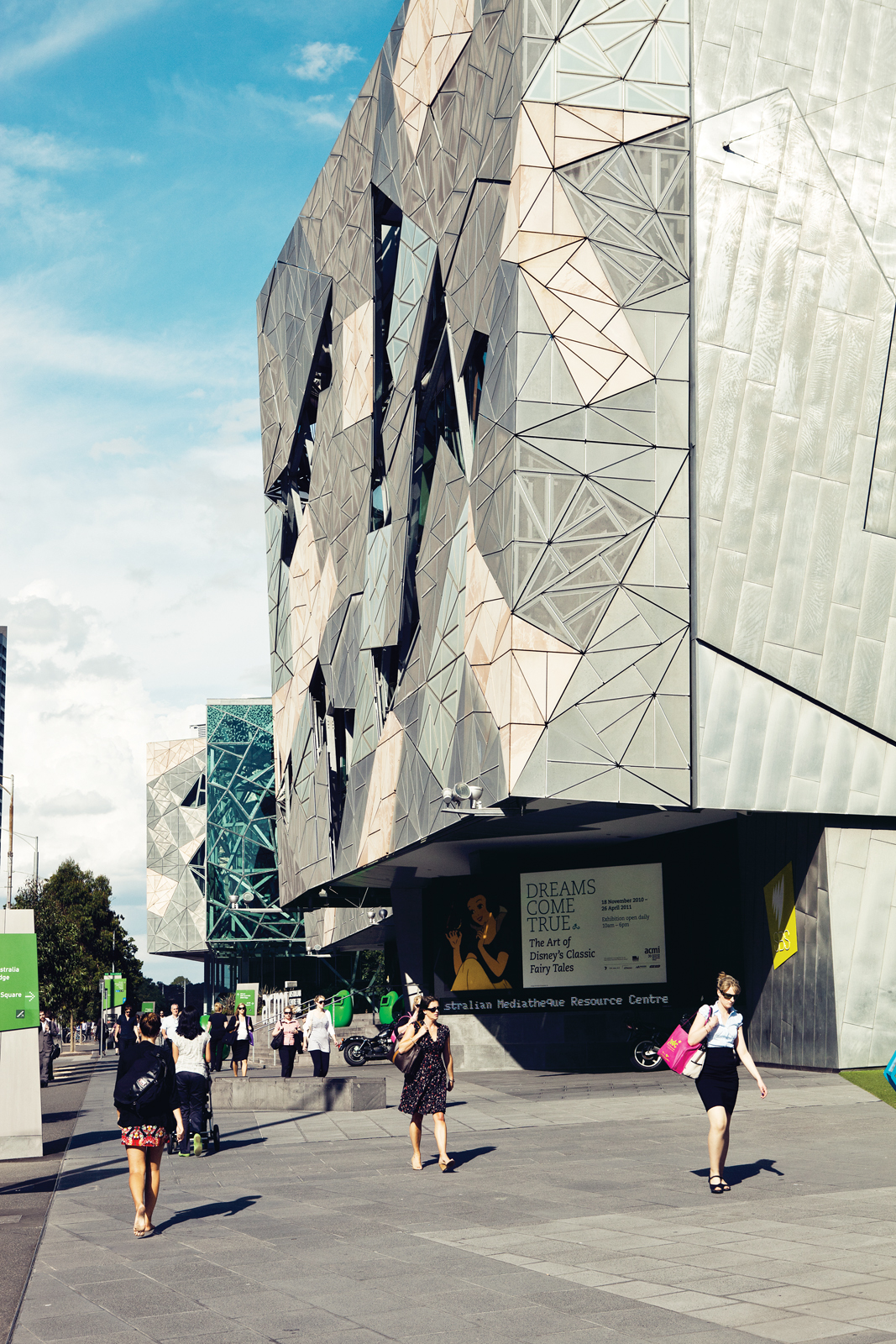 Federation Square on the banks of the Yarra in Melbourne, Australia