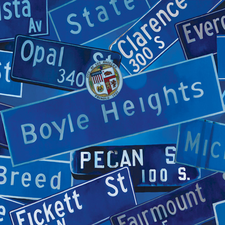 Boyle Heights street signs painting by Fabian Debora