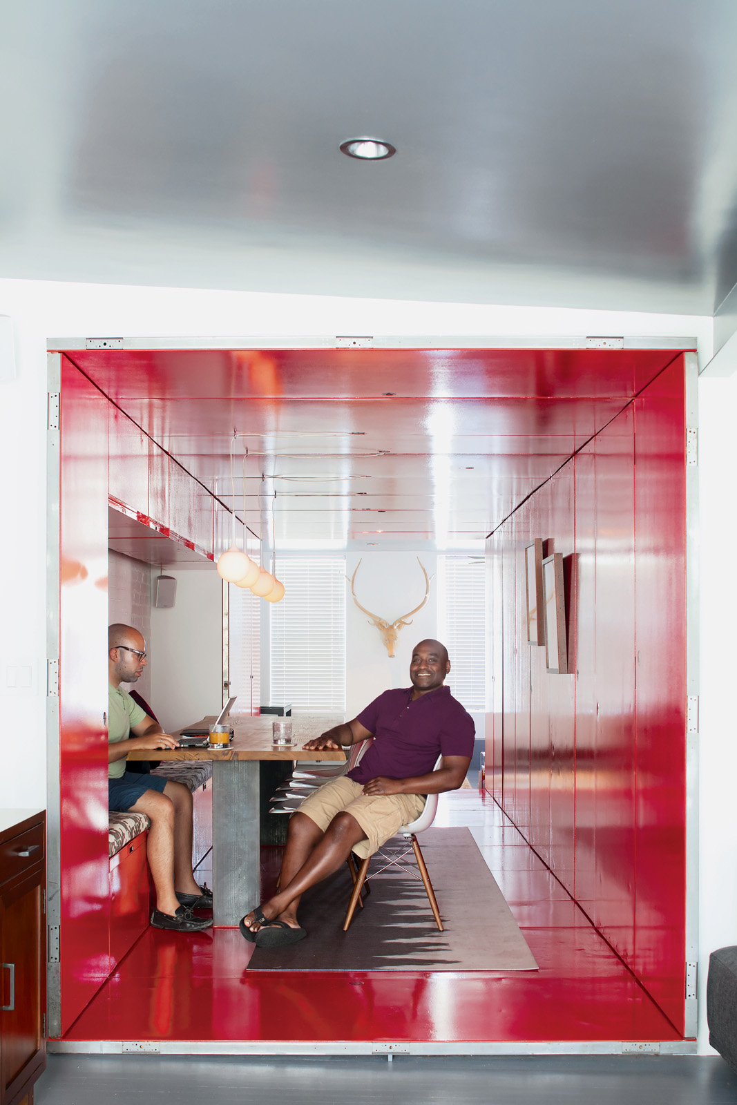 Modern painted red tunneled kitchen