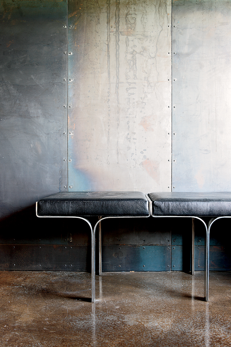 """""""I've always had this fascination with industrial buildings, and with my work, I've been in a lot of steel mills,"""" says designer James Campbell of a Collingwood, Toronto, house he created using salvaged scrap metal. """"Plus, I'm a modernist, so the way to c"""