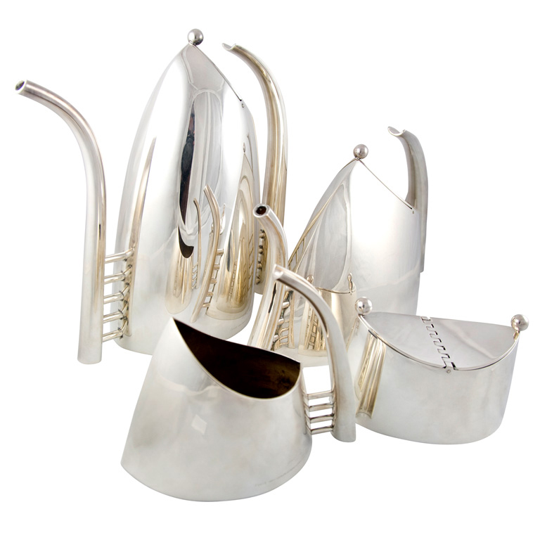 <strong>Lino Sabattini Coffee and Tea Service</strong><br /> In the 1950s, Gio Ponti championed the designs of Lino Sabattini, a self-taught designer of cutlery and tableware, born in Italy in 1925. After Ponti placed his designs in the magazine Domus in