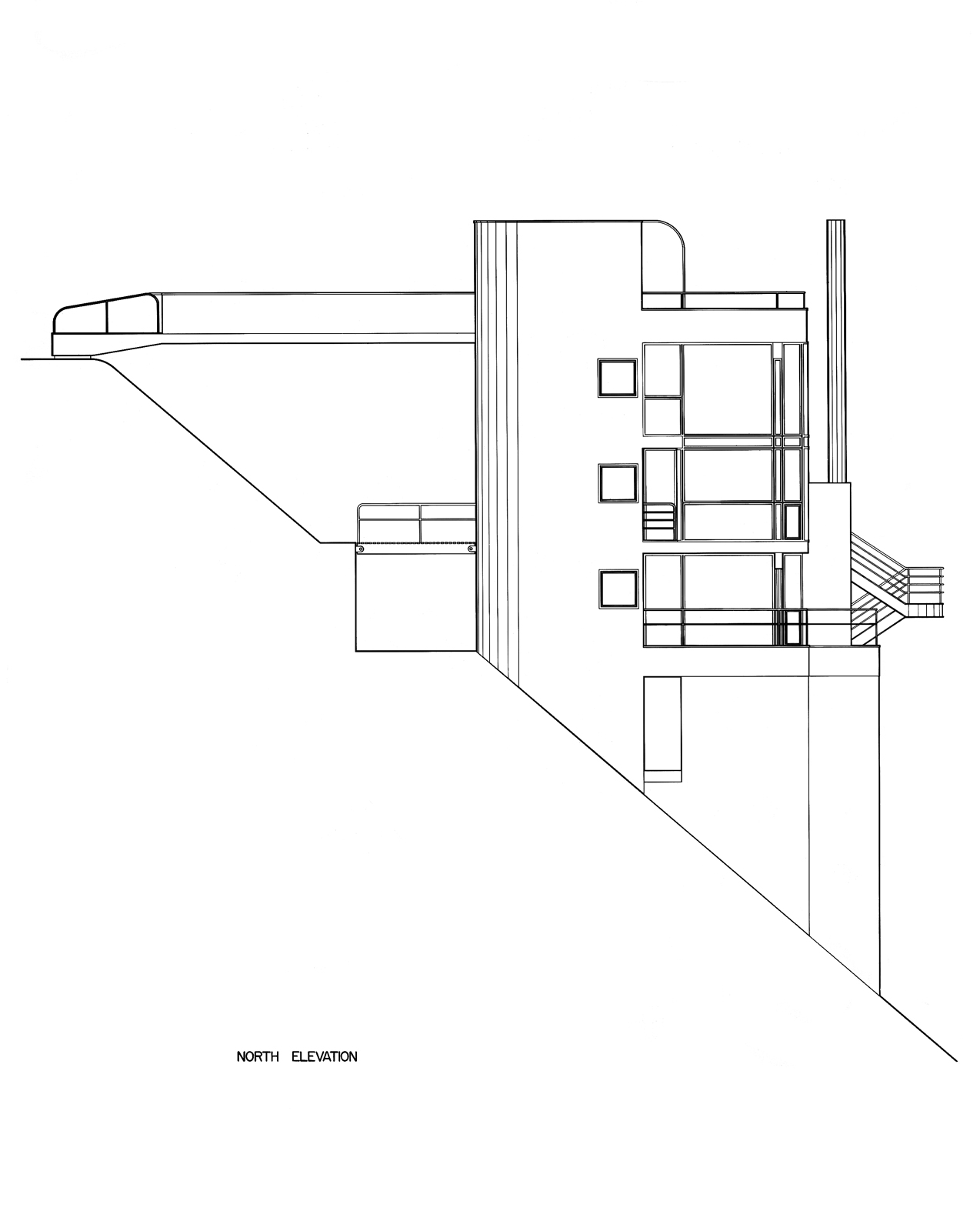 Original illustrations of the slope of the Douglas House by Richard Meier