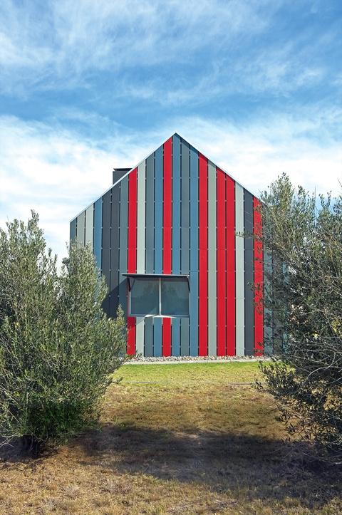 Clad striped exterior