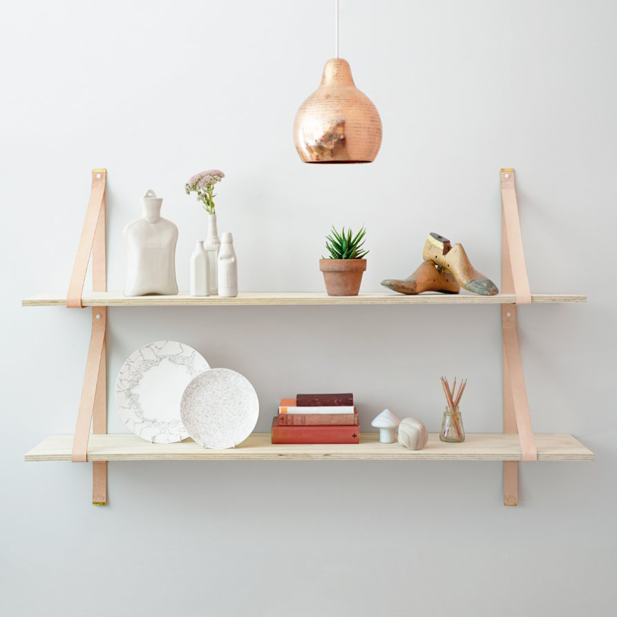 assemblages leather shelves