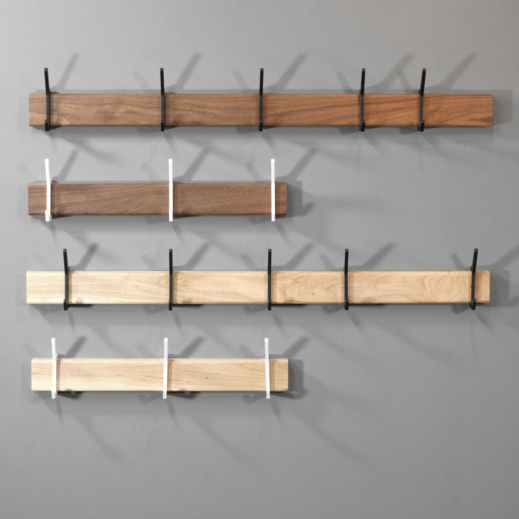 Federal coat hook rack by Isabella Furniture in black walnut or maple with powder-coated steel hooks.