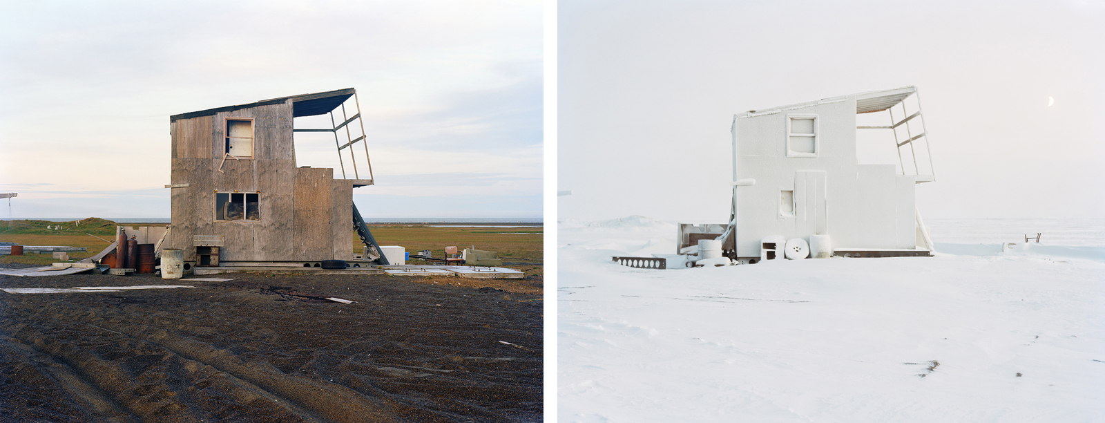 Hunting cabins in Barrow, Alaska photographed by Eirik Johnson