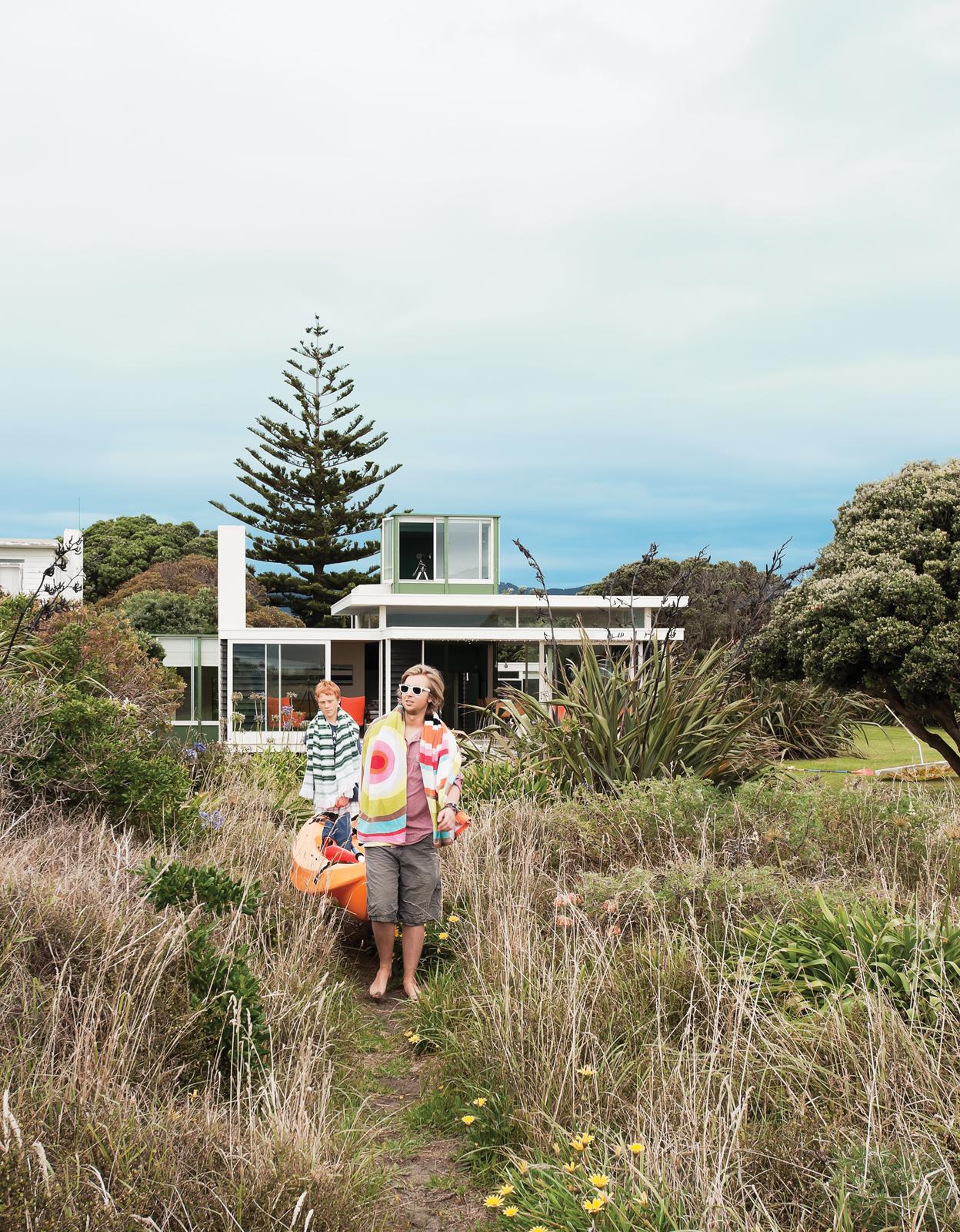 Modern beach house exterior in New Zealand