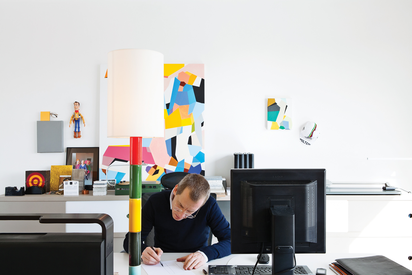 Modern office with Bouroullec Brothers tables and Vitra office chair