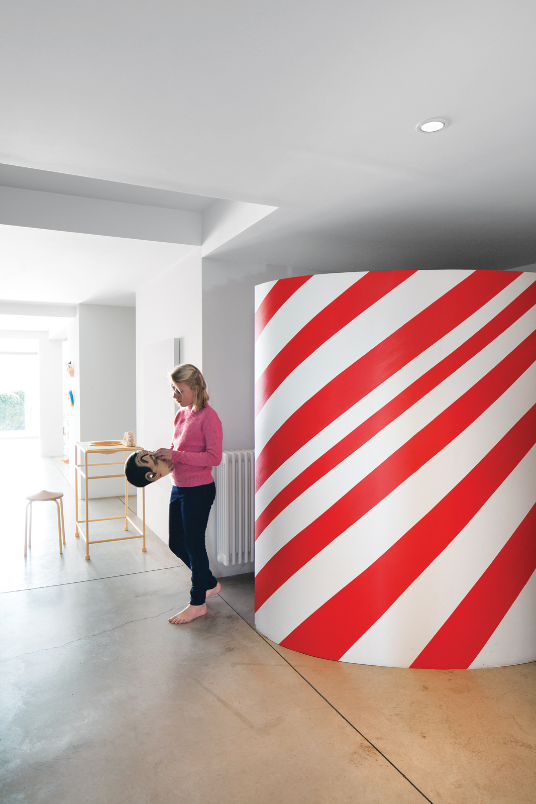 Red and white candy-striped wardrobe