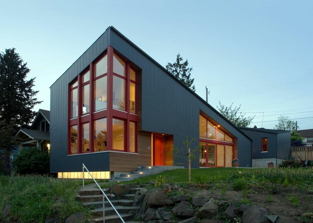 Modern metal facade home