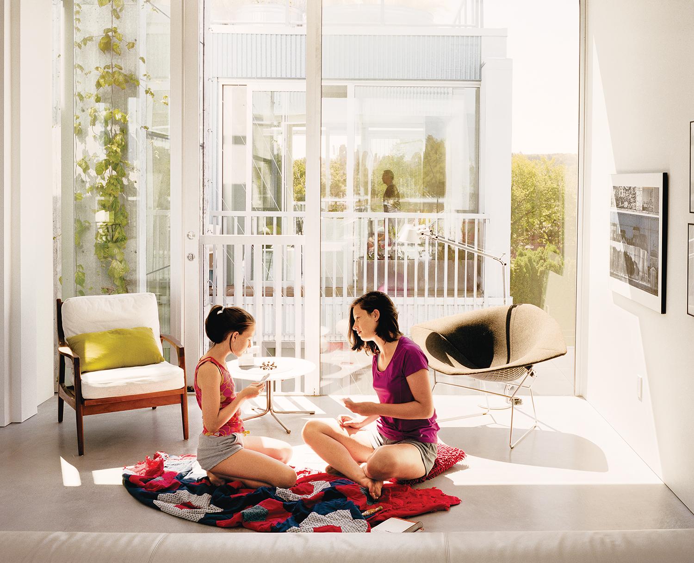 modern multiunit prefab in Vancouver interior living area