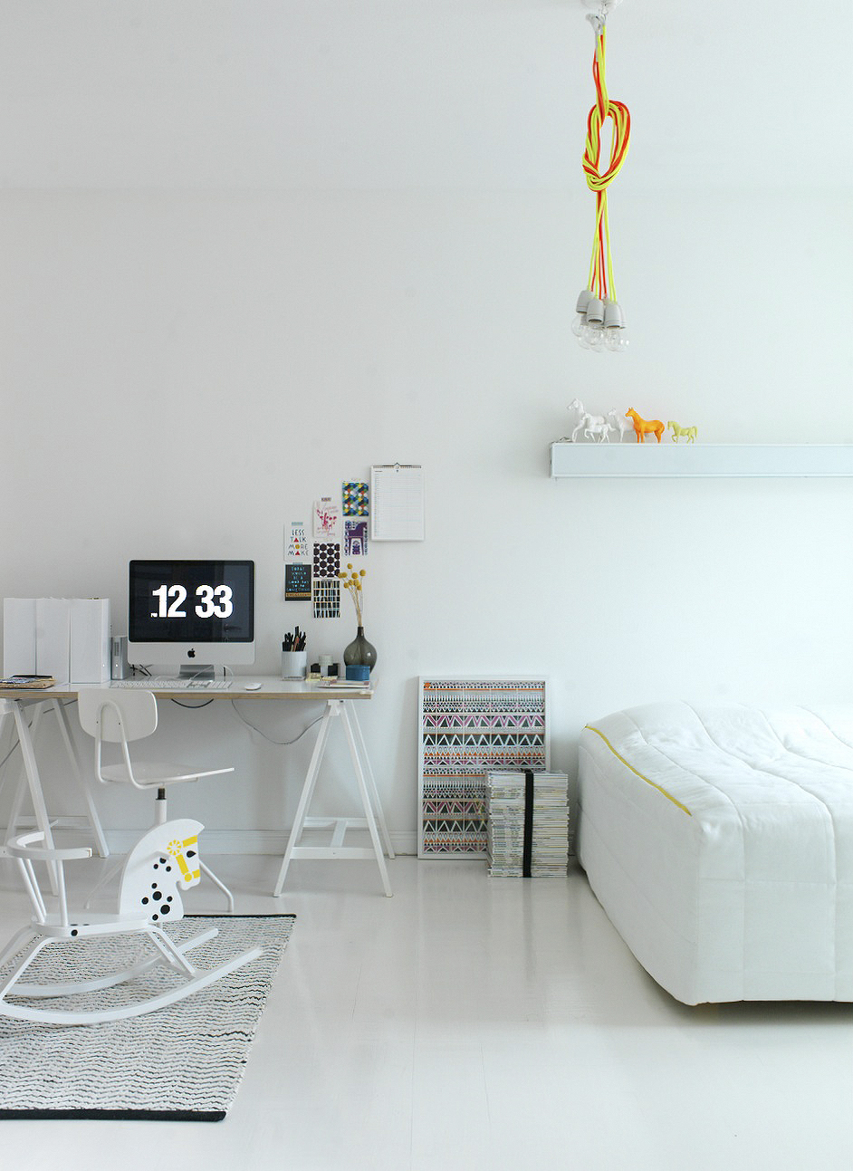 Bedroom furniture white renovation affordable small space Finland apartment neon accent