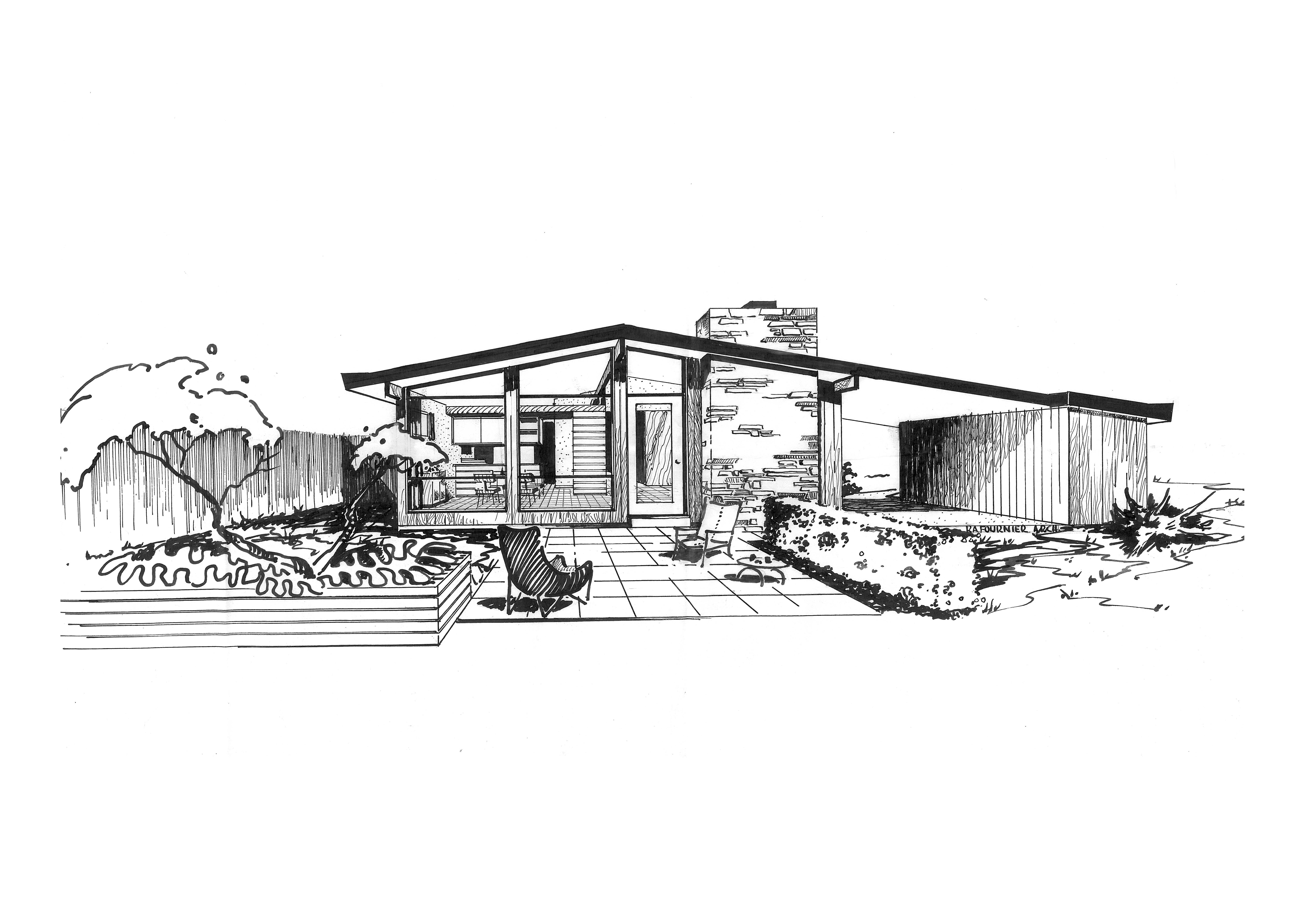 Ridgewood House sketch, St. Louis midcentury modernism, Ralph Fournier
