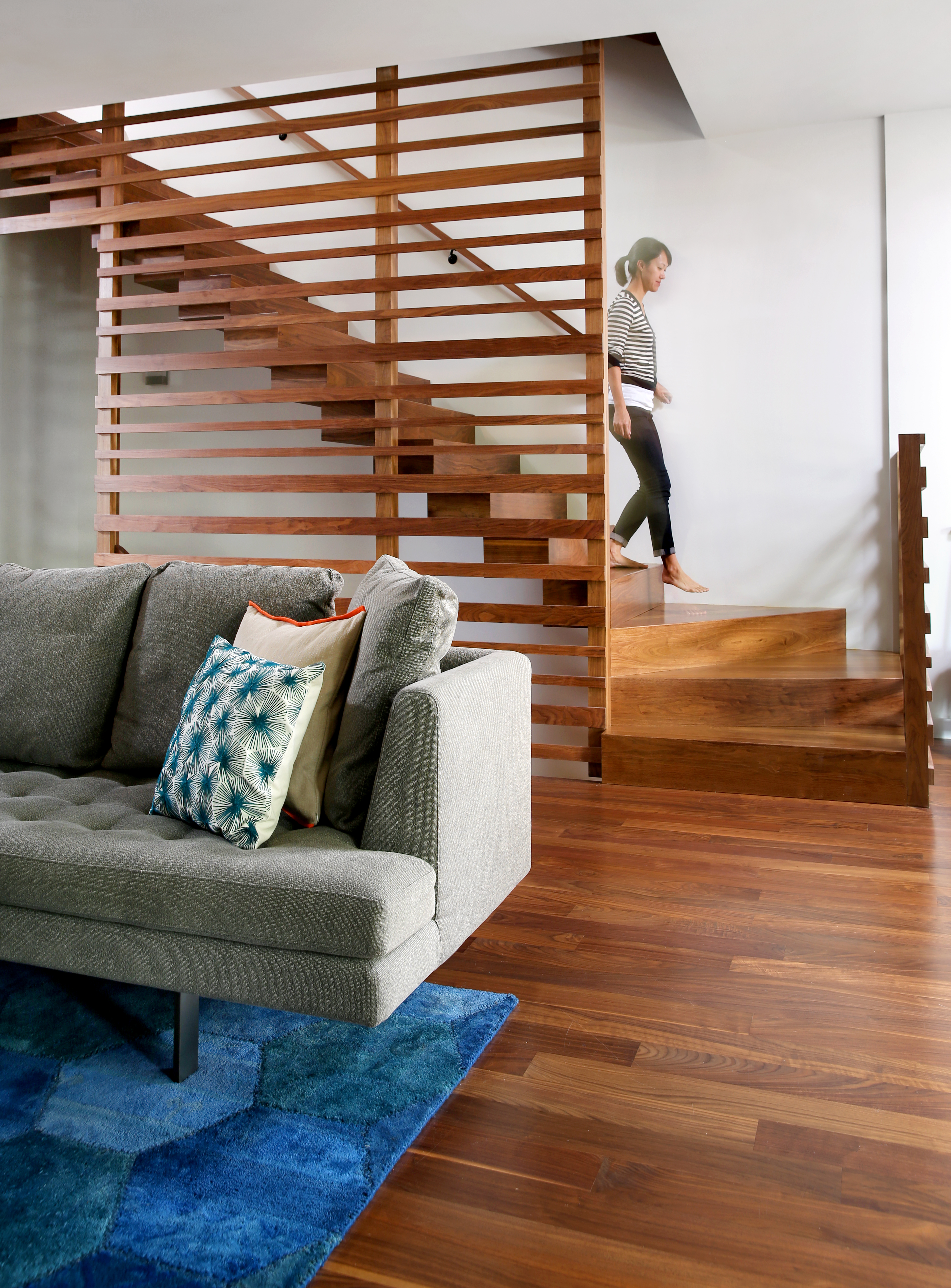 george residence interior custom walnut staircase