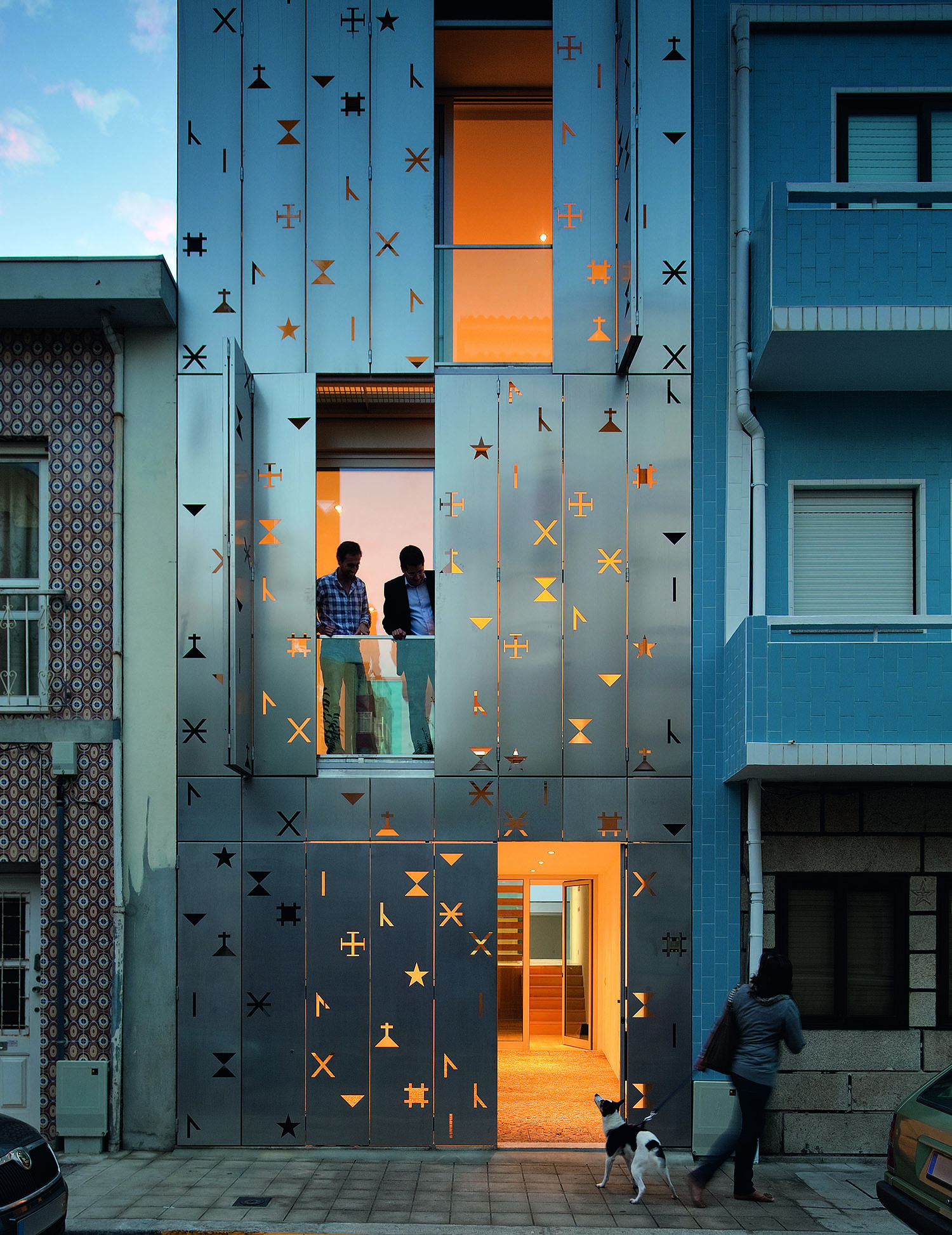 the metal facade of a small home in Portugal