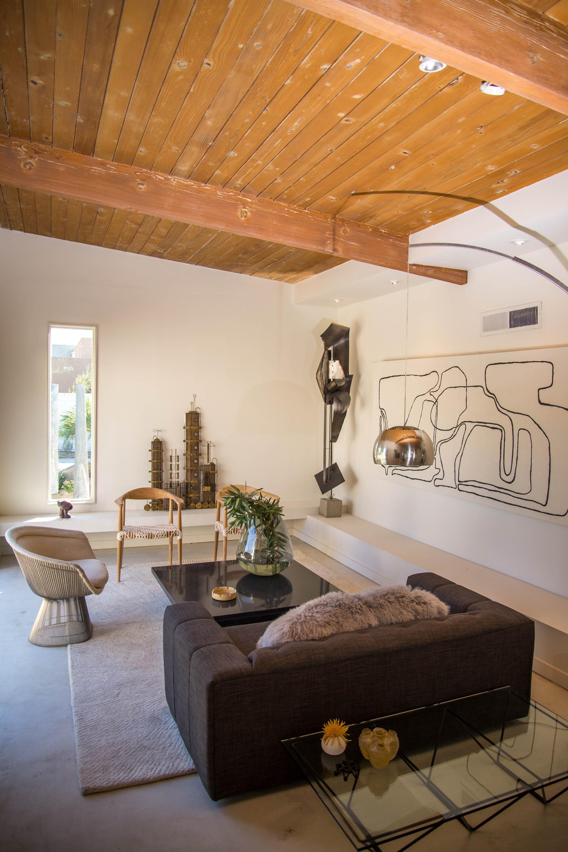mid-century modern living room palm springs