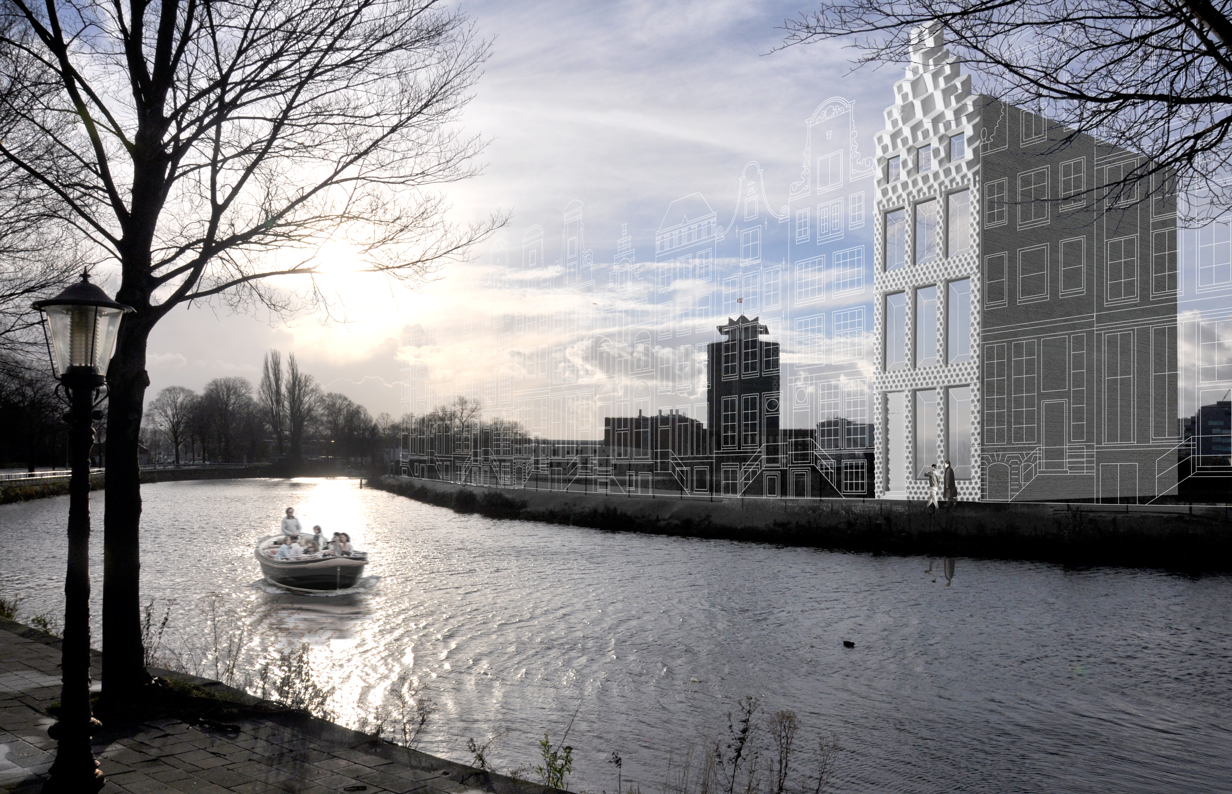 canal house on the river in amsterdam