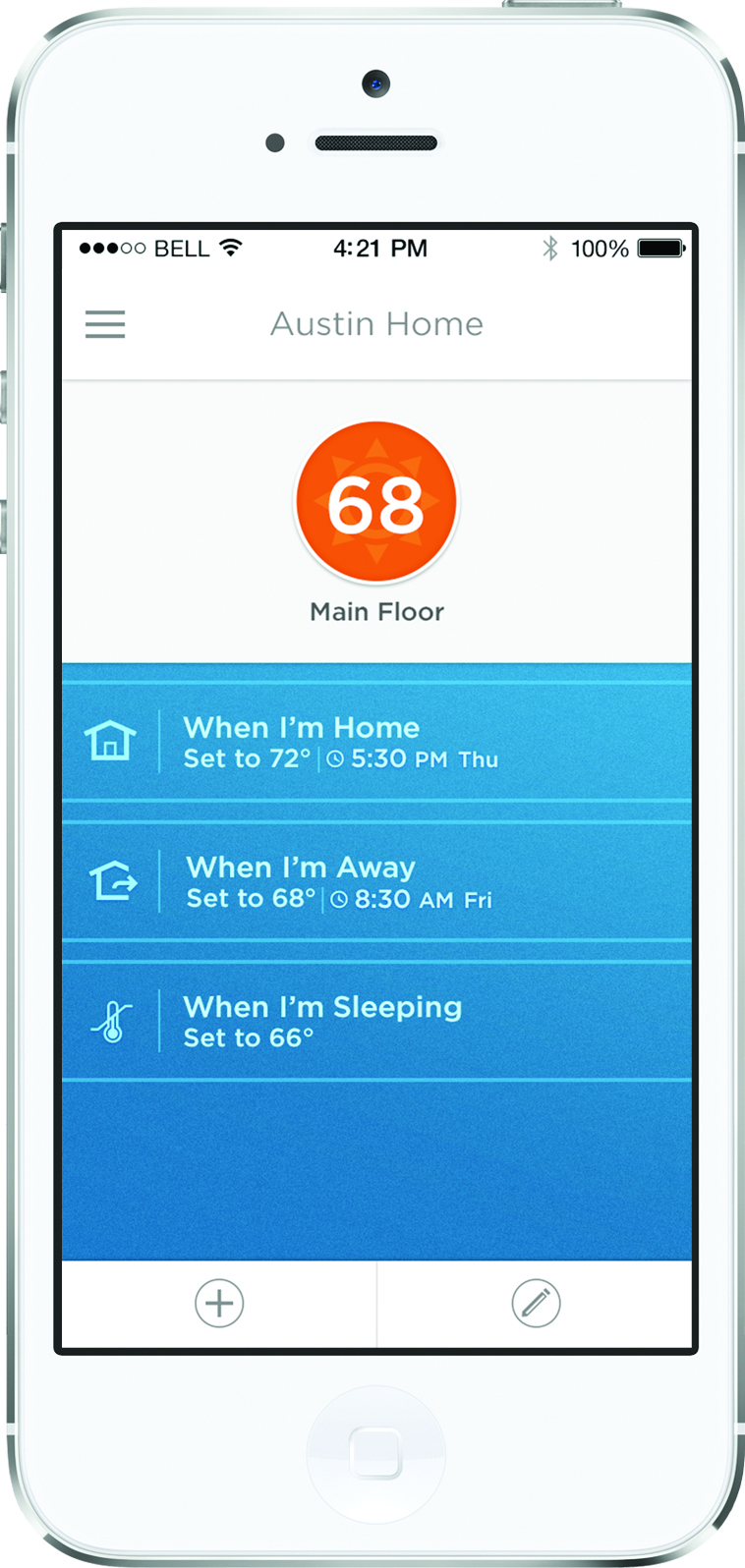 Smart Honeywell thermostat with iPhone app