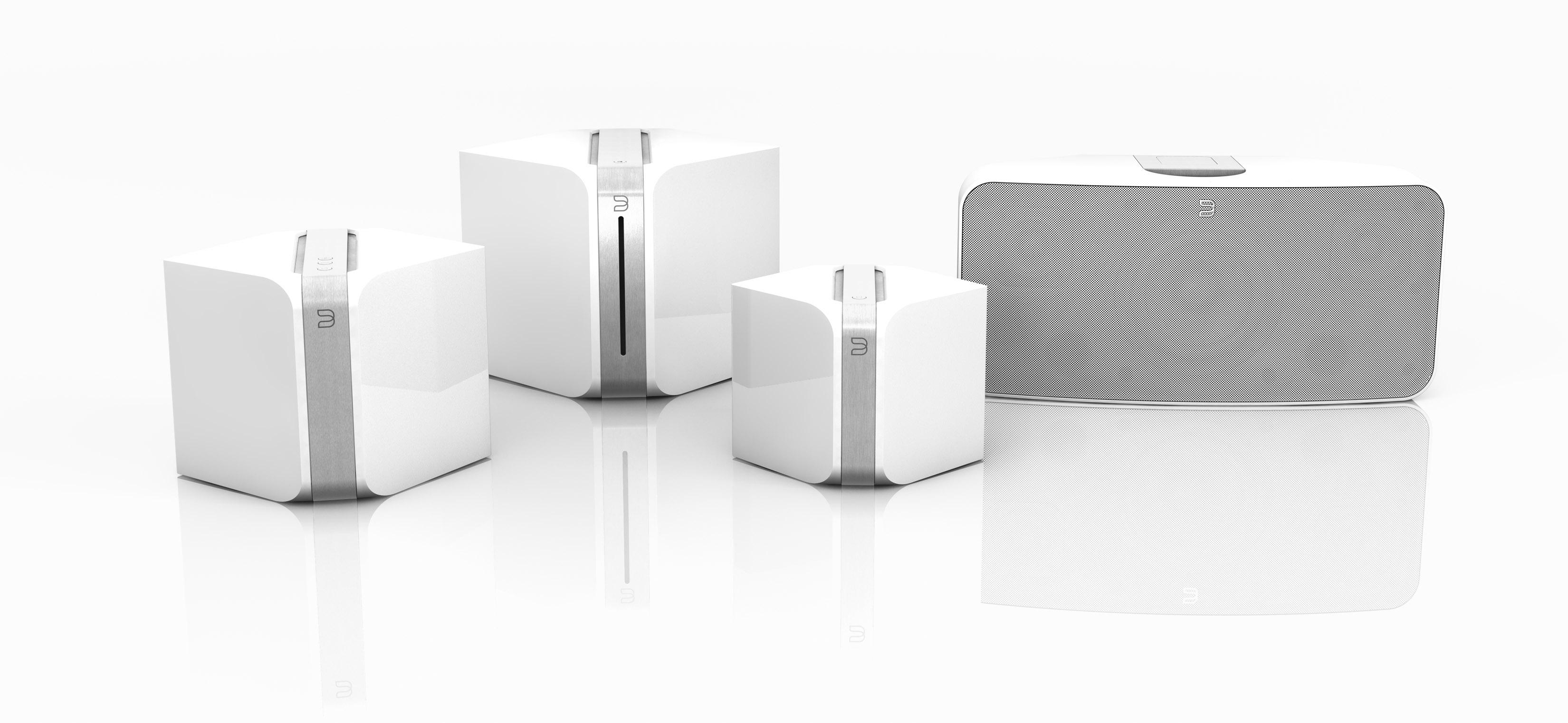 Bluesound wifi speakers in white.