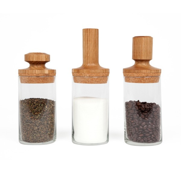 Glass and wood dry food containers