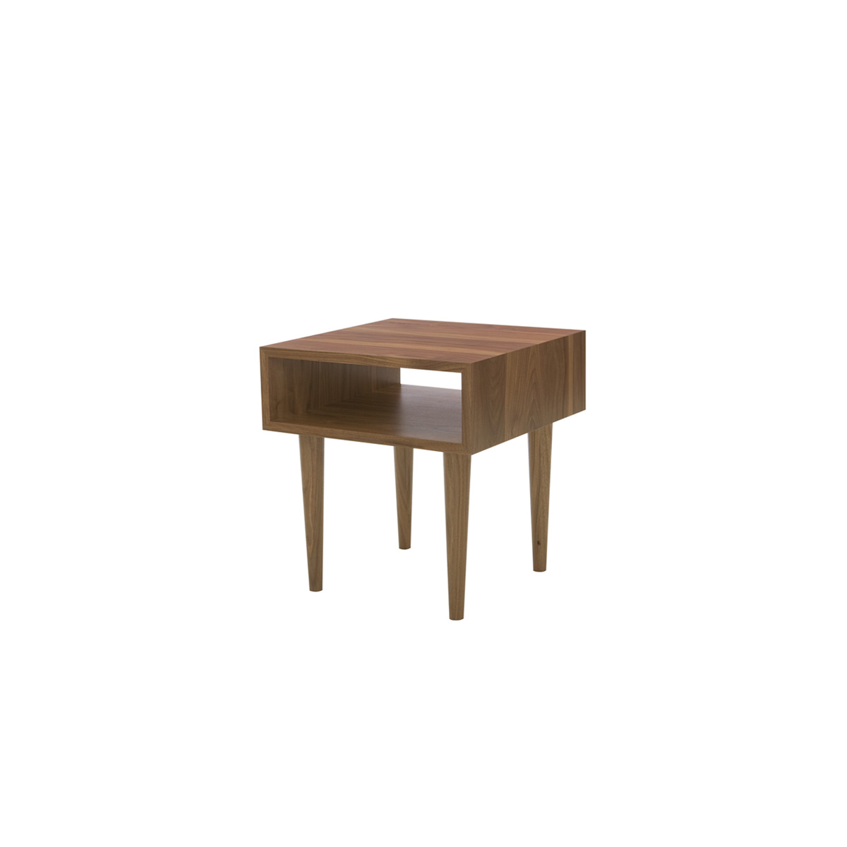 Classic walnut midcentury modern inspired side table with storage