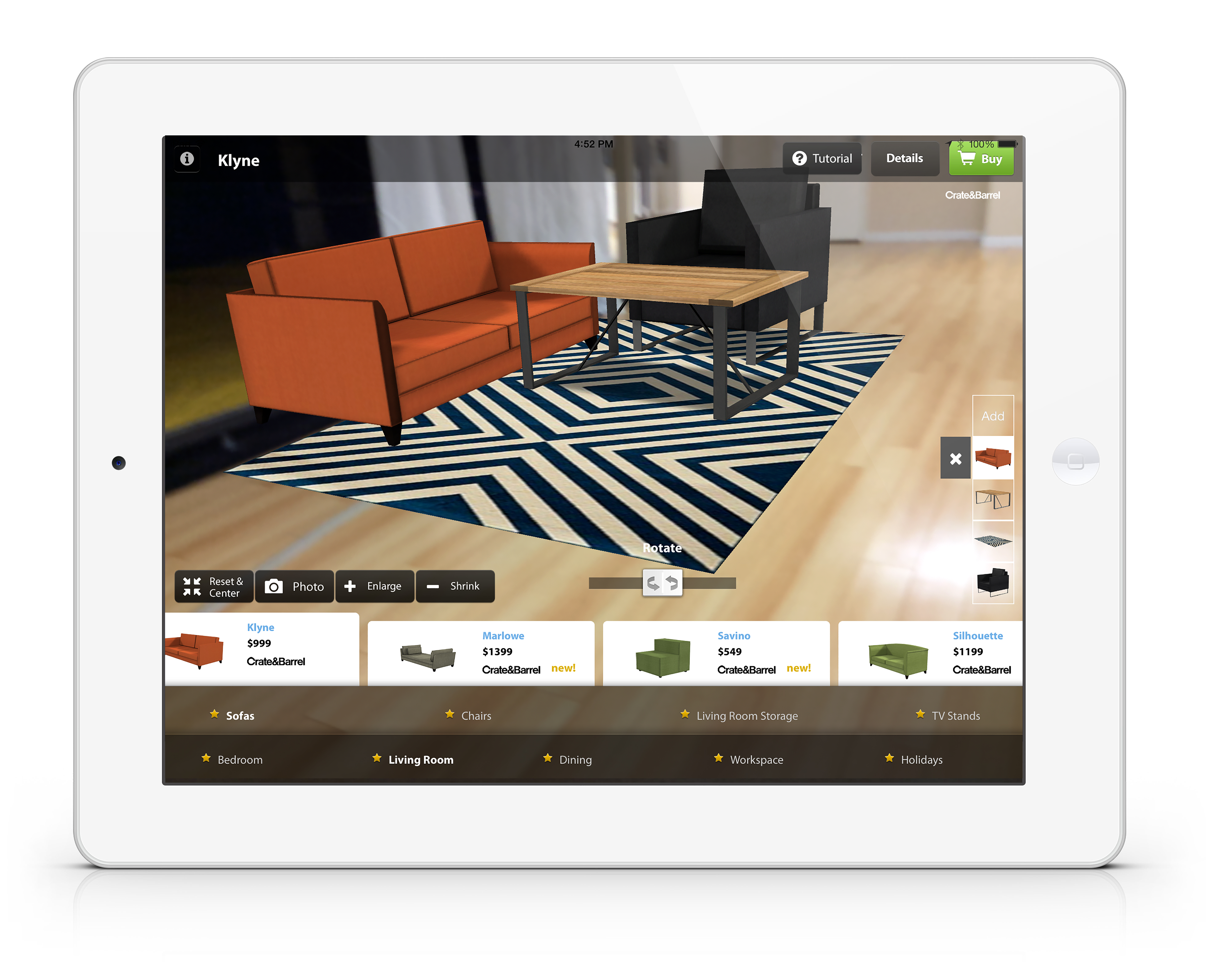 Furnish app on iPad with orange couch and coffee table