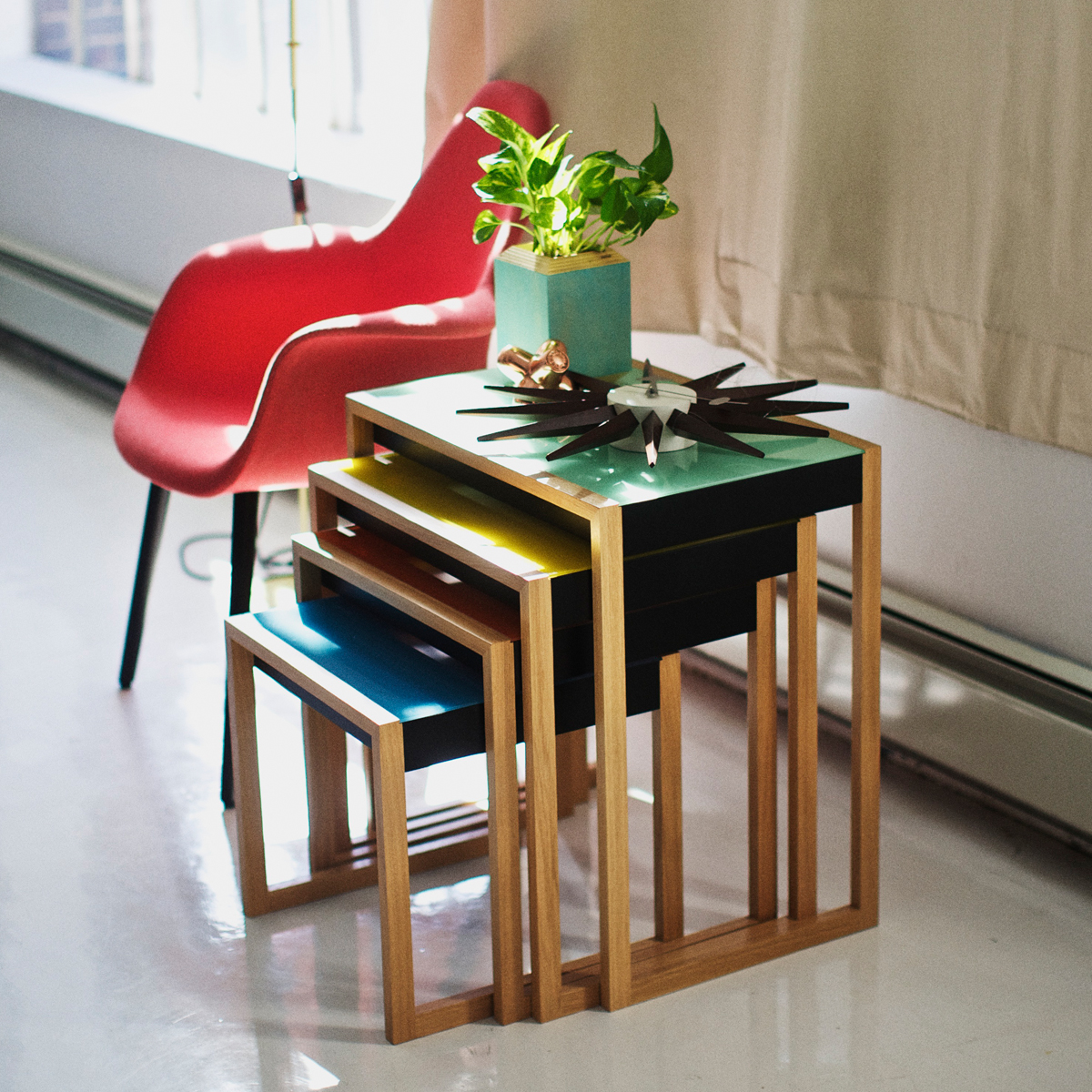 Set of four Josef Albers Bauhaus tables