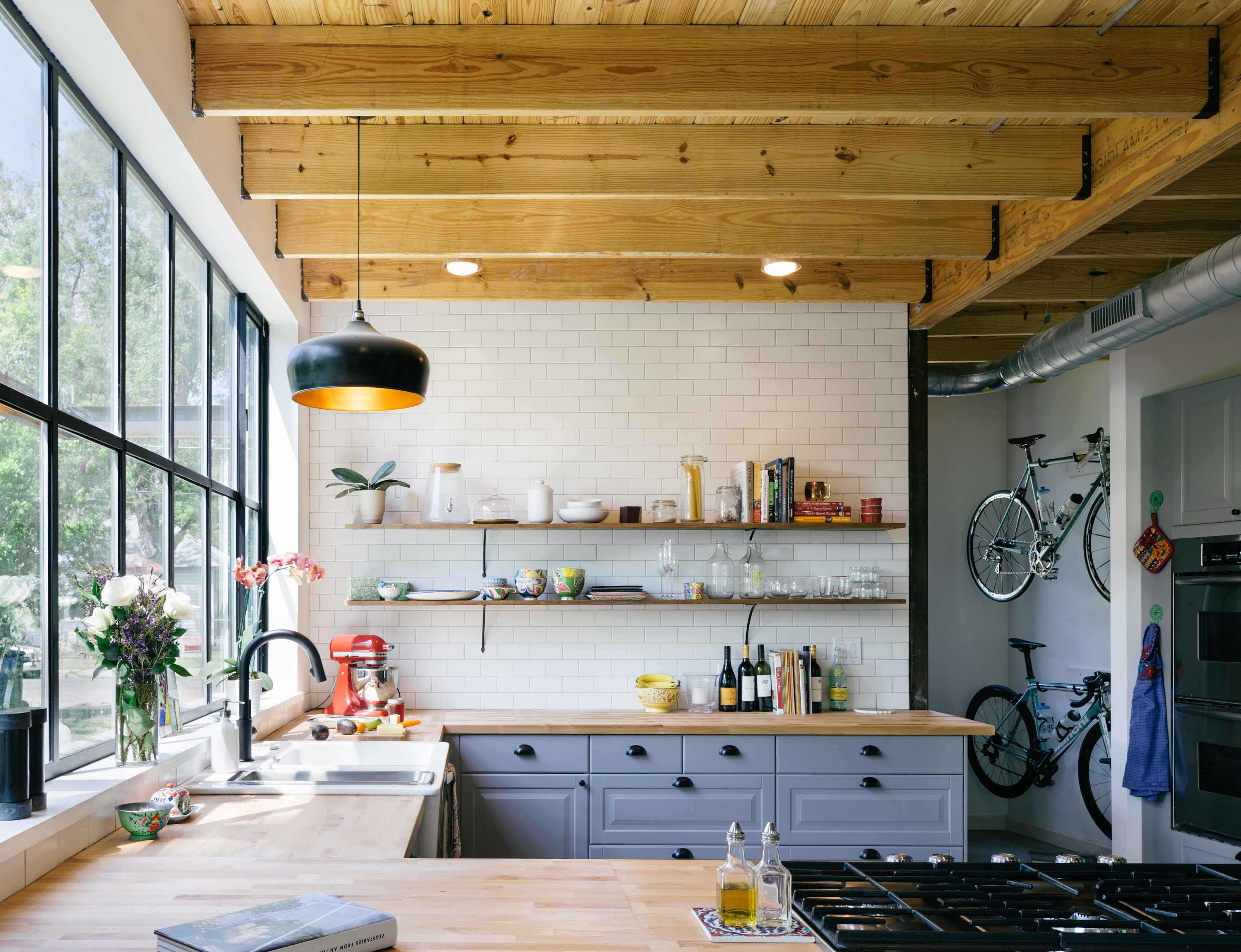 Austin kitchen with reclaimed shelving