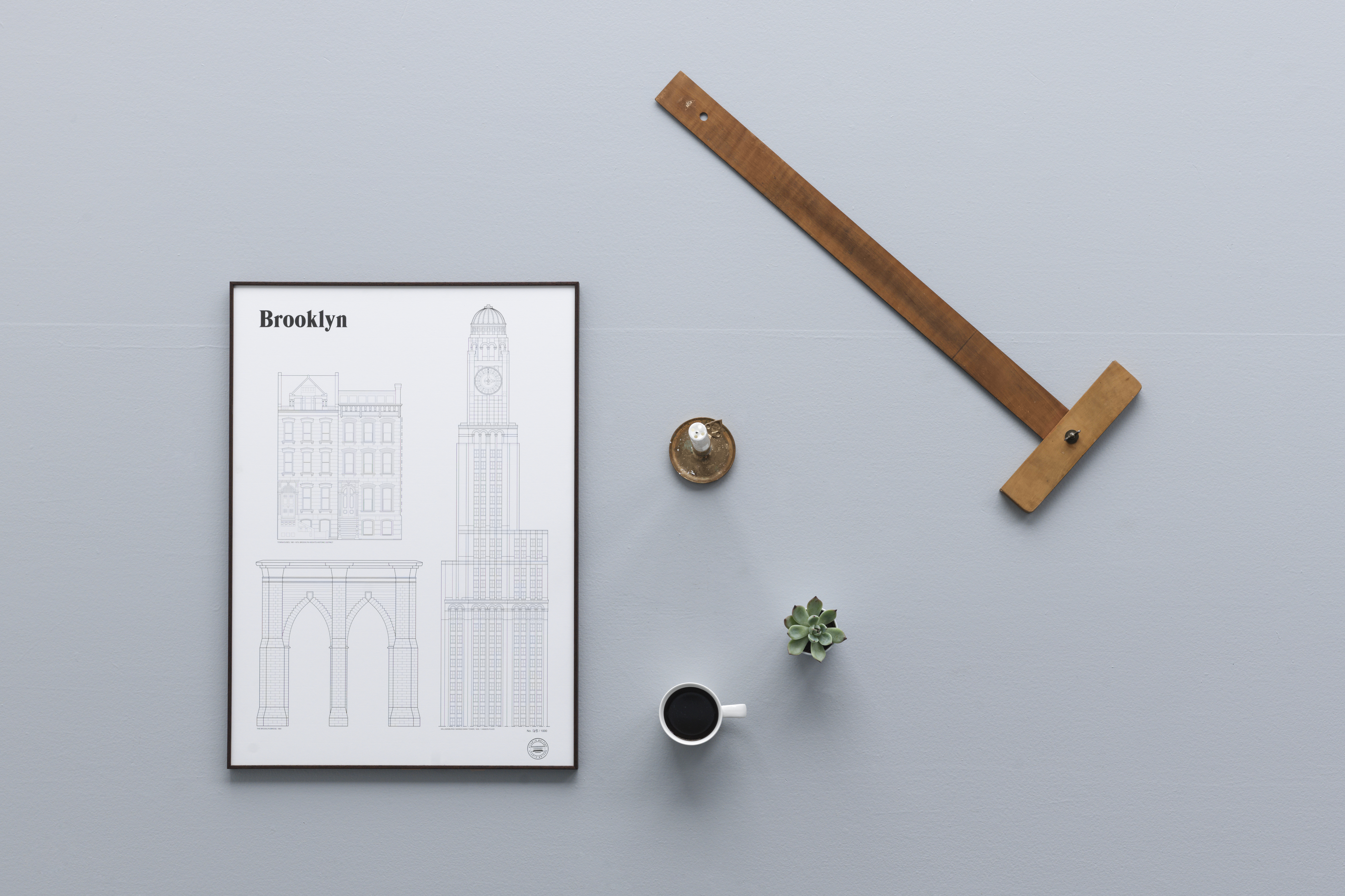 Architectural portrait of three Brooklyn, New York landmark buildings