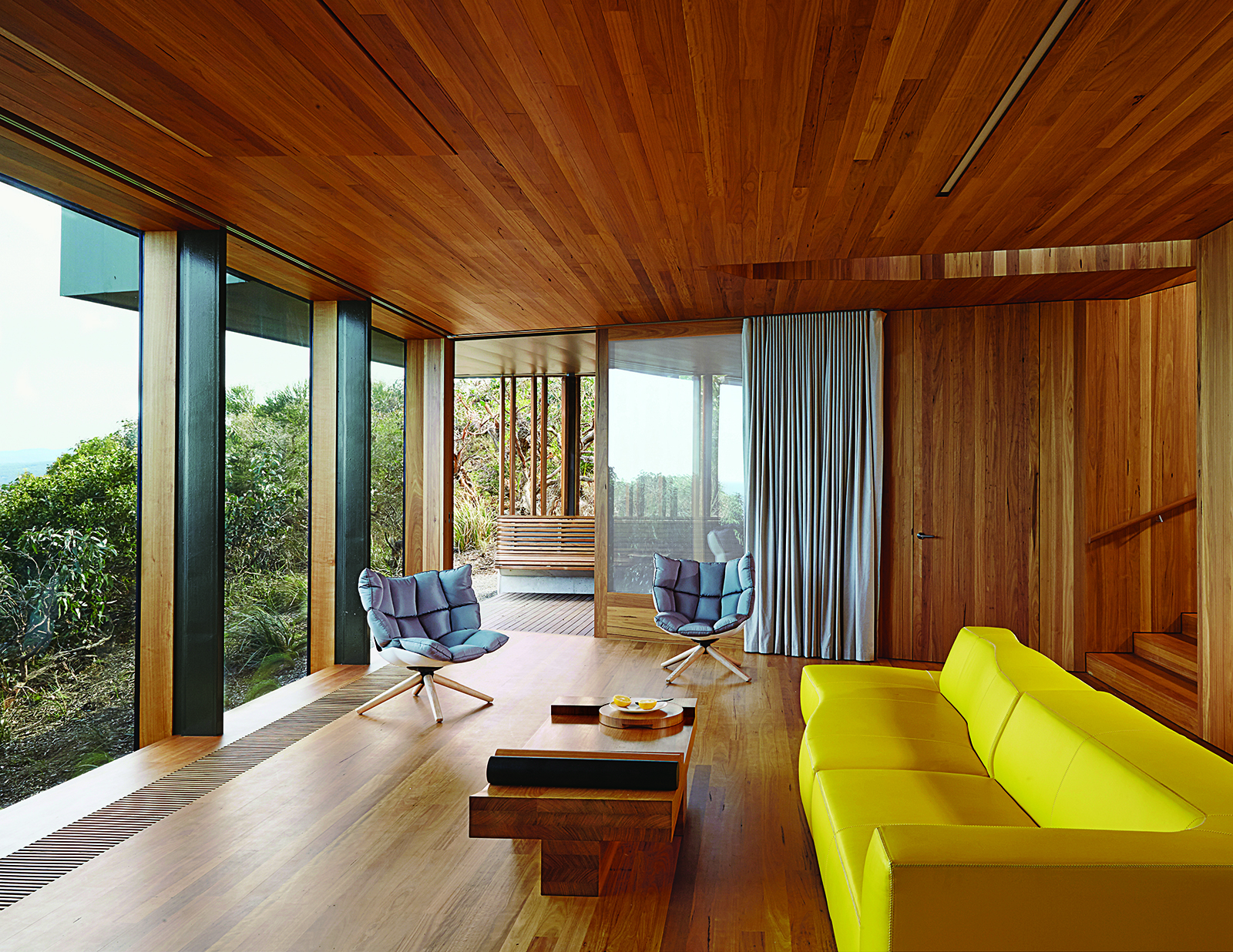 modern fairhaven beach house blackbutt eucalyptus living room Patricia Urquiola sofa
